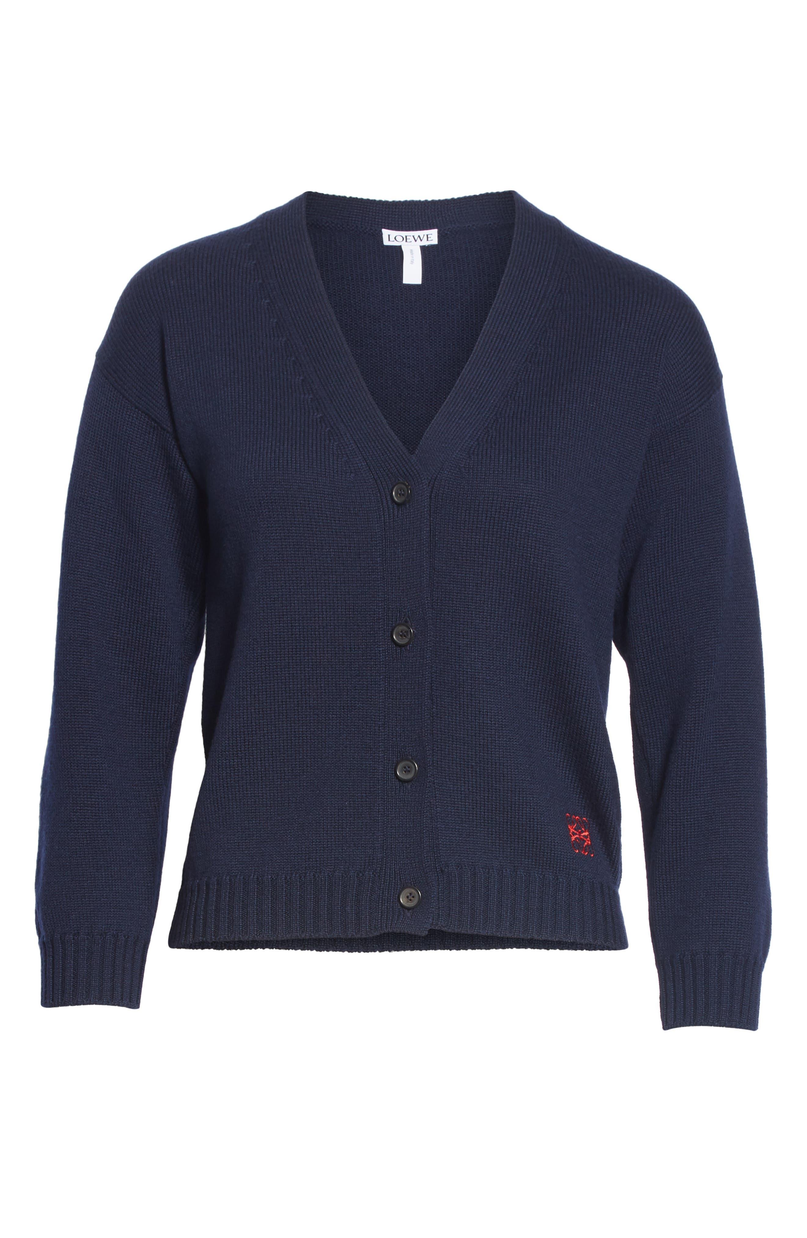 Wool Logo Cardigan,                             Alternate thumbnail 6, color,                             NAVY BLUE
