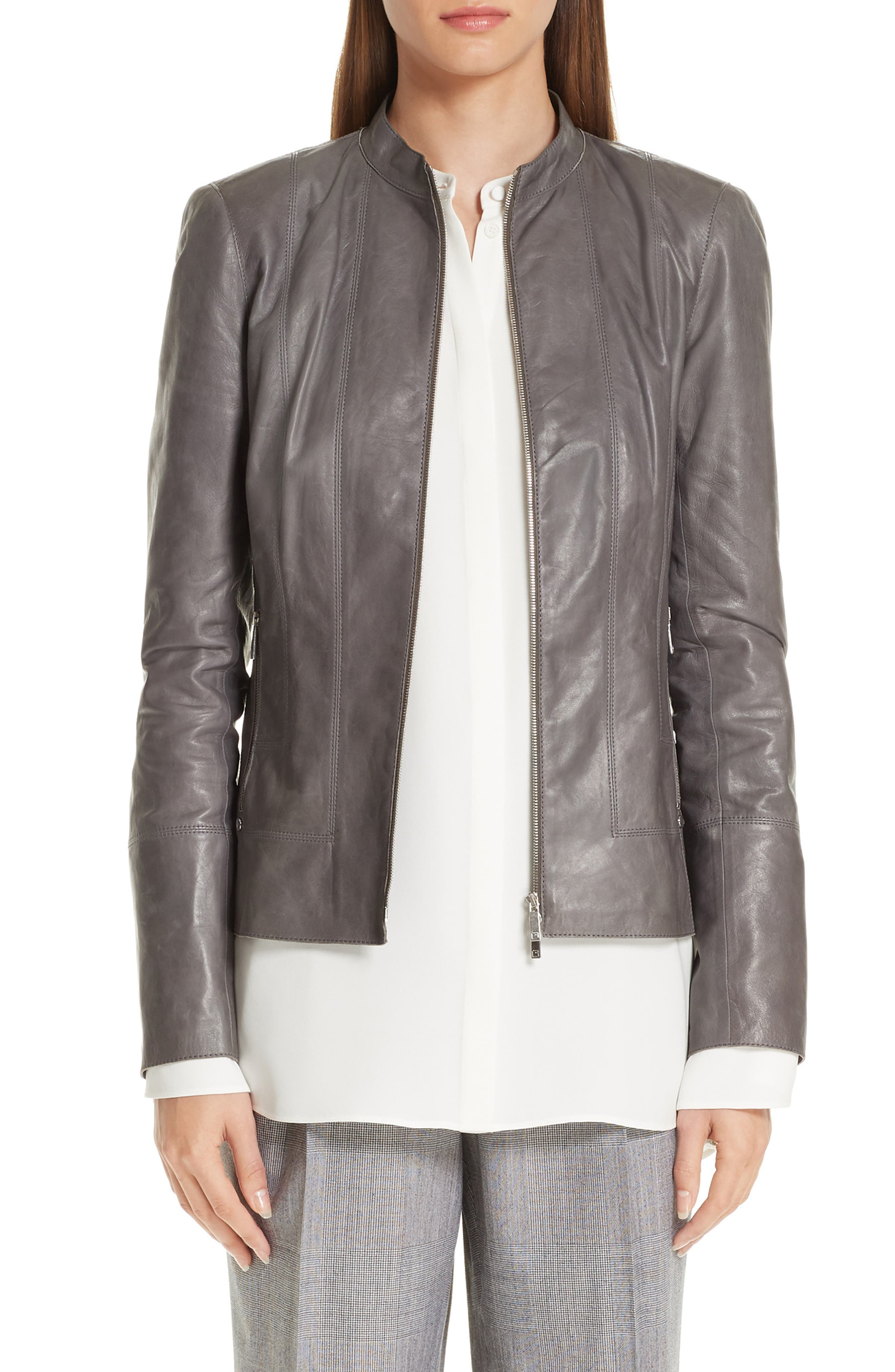 LAFAYETTE 148 Sadie Zip-Front Glazed Lightweight Lambskin Leather Jacket in Deep Rock