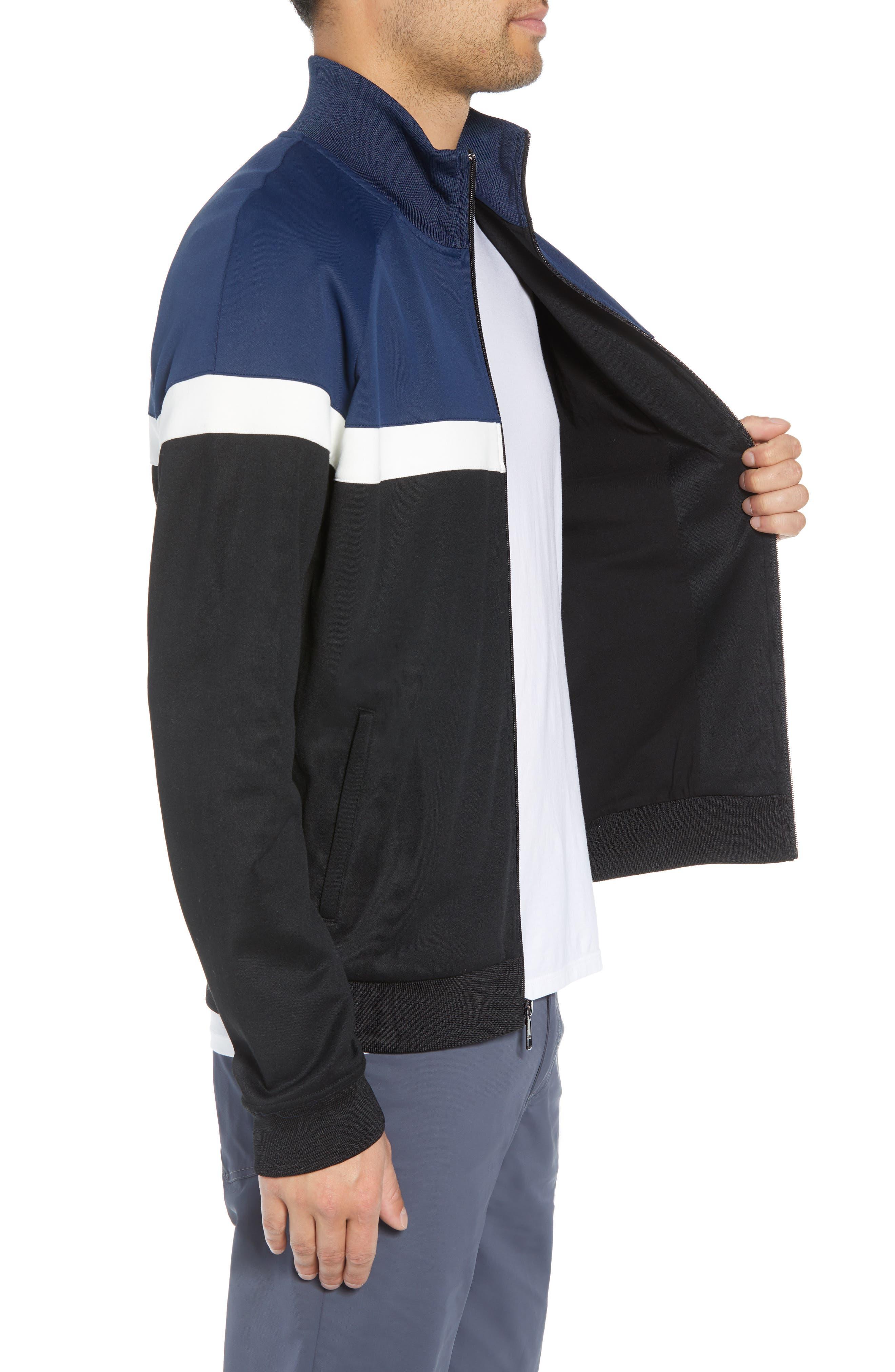 Classic Fit Colorblock Track Jacket,                             Alternate thumbnail 3, color,                             BLACK/ PRUSSIAN BLUE
