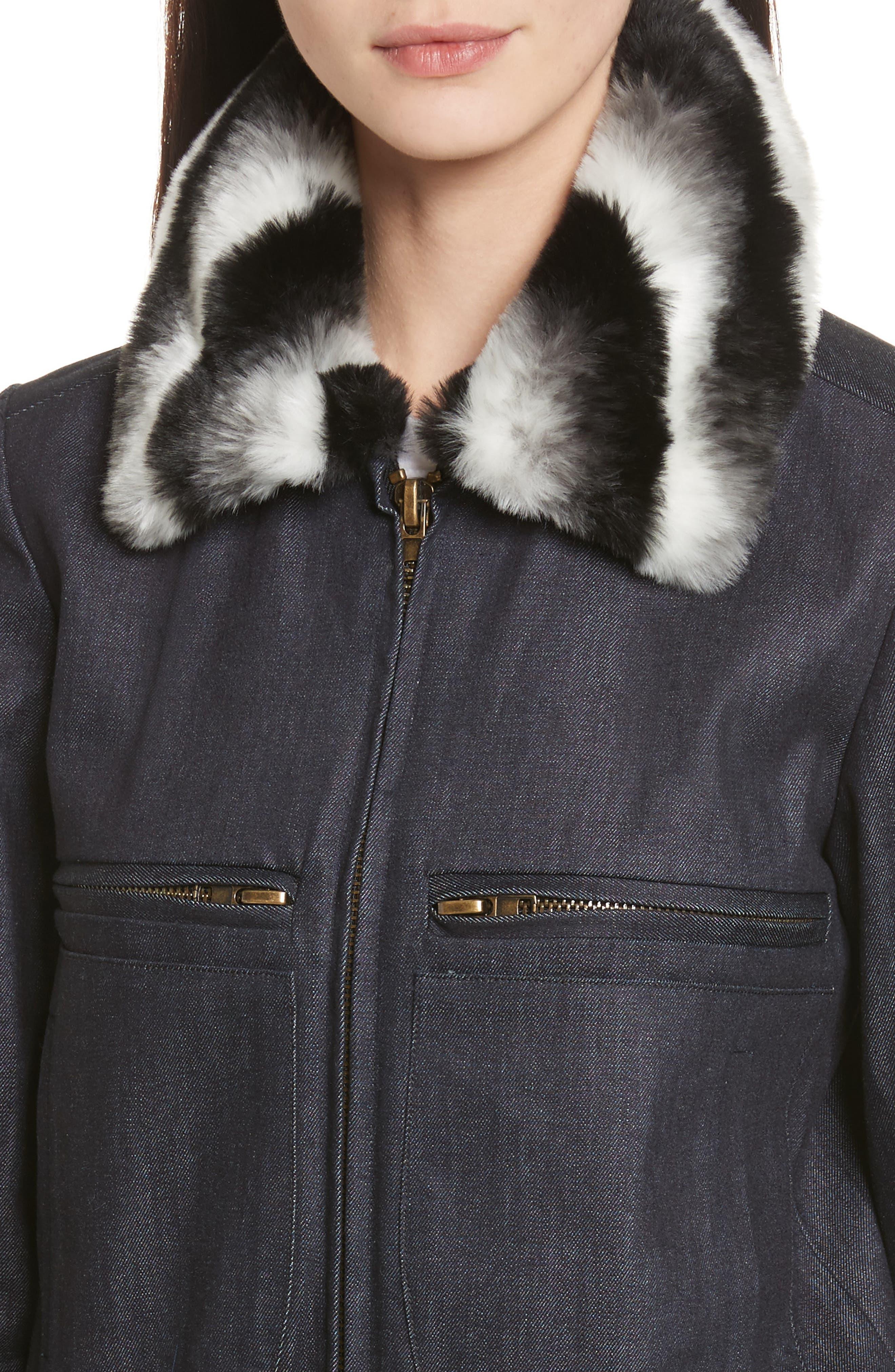 Faux Fur Collar Bomber Jacket,                             Alternate thumbnail 4, color,                             400