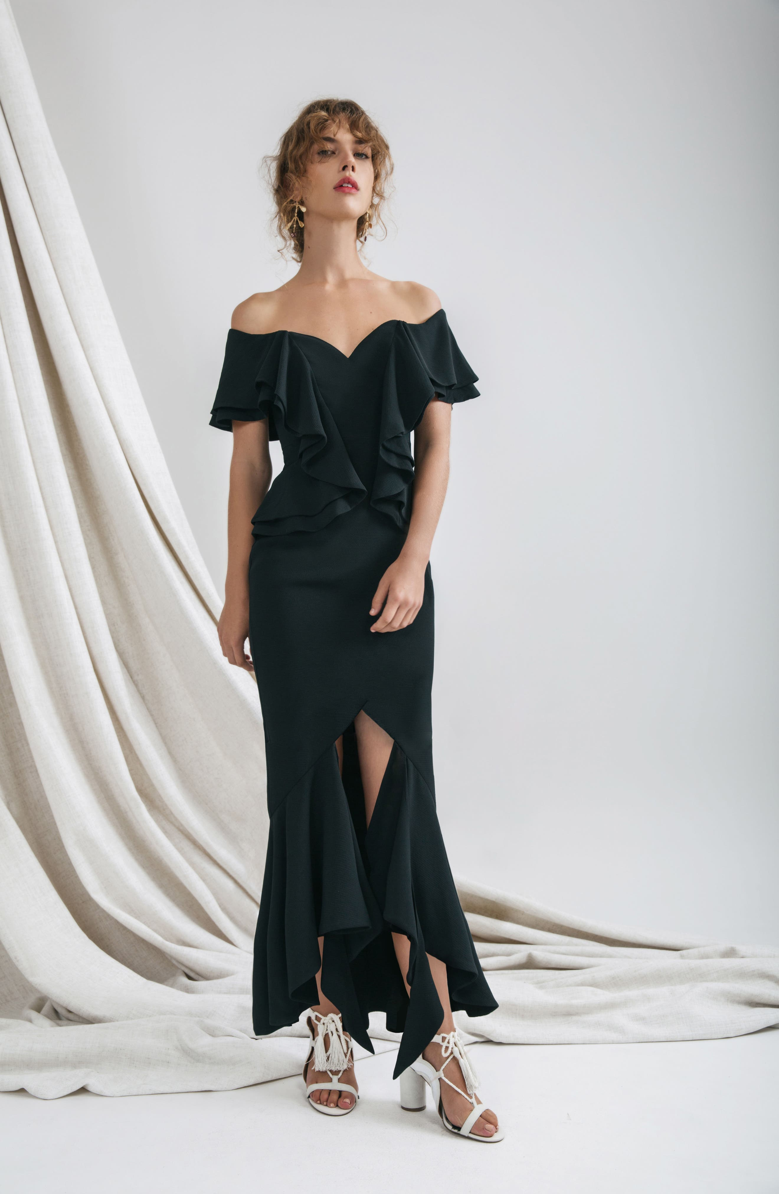 Covet Ruffle Off the Shoulder Gown,                             Alternate thumbnail 7, color,                             001