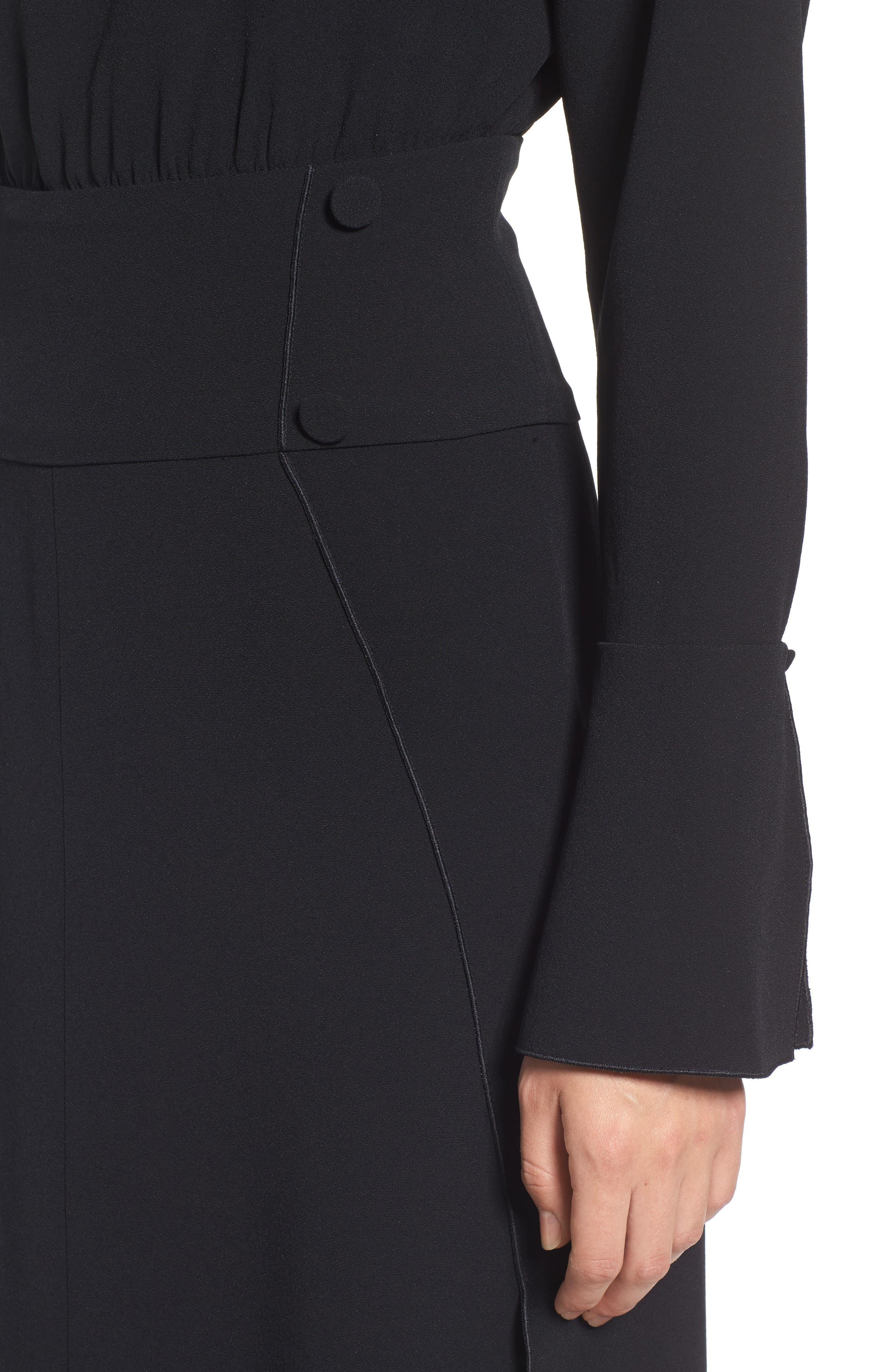 LEWIT,                             Button Detail Matte Crepe Midi Dress,                             Alternate thumbnail 4, color,                             001