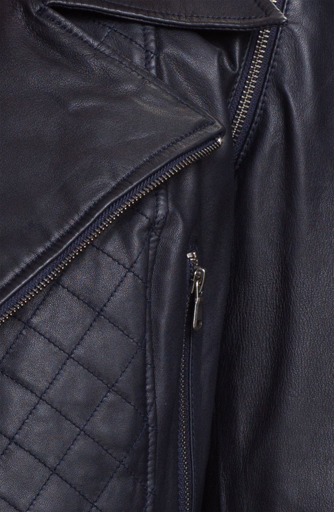 Kenna-T Convertible Quilted Leather Biker Jacket,                             Alternate thumbnail 3, color,                             410