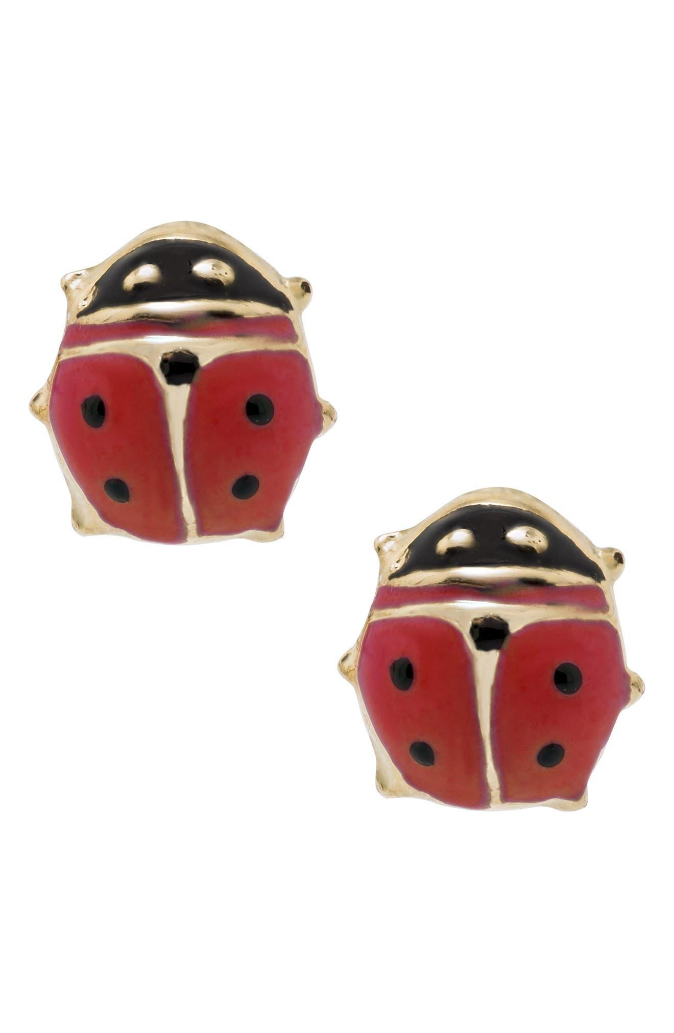 14k Gold & Enamel Ladybug Earrings,                         Main,                         color, RED/ GOLD