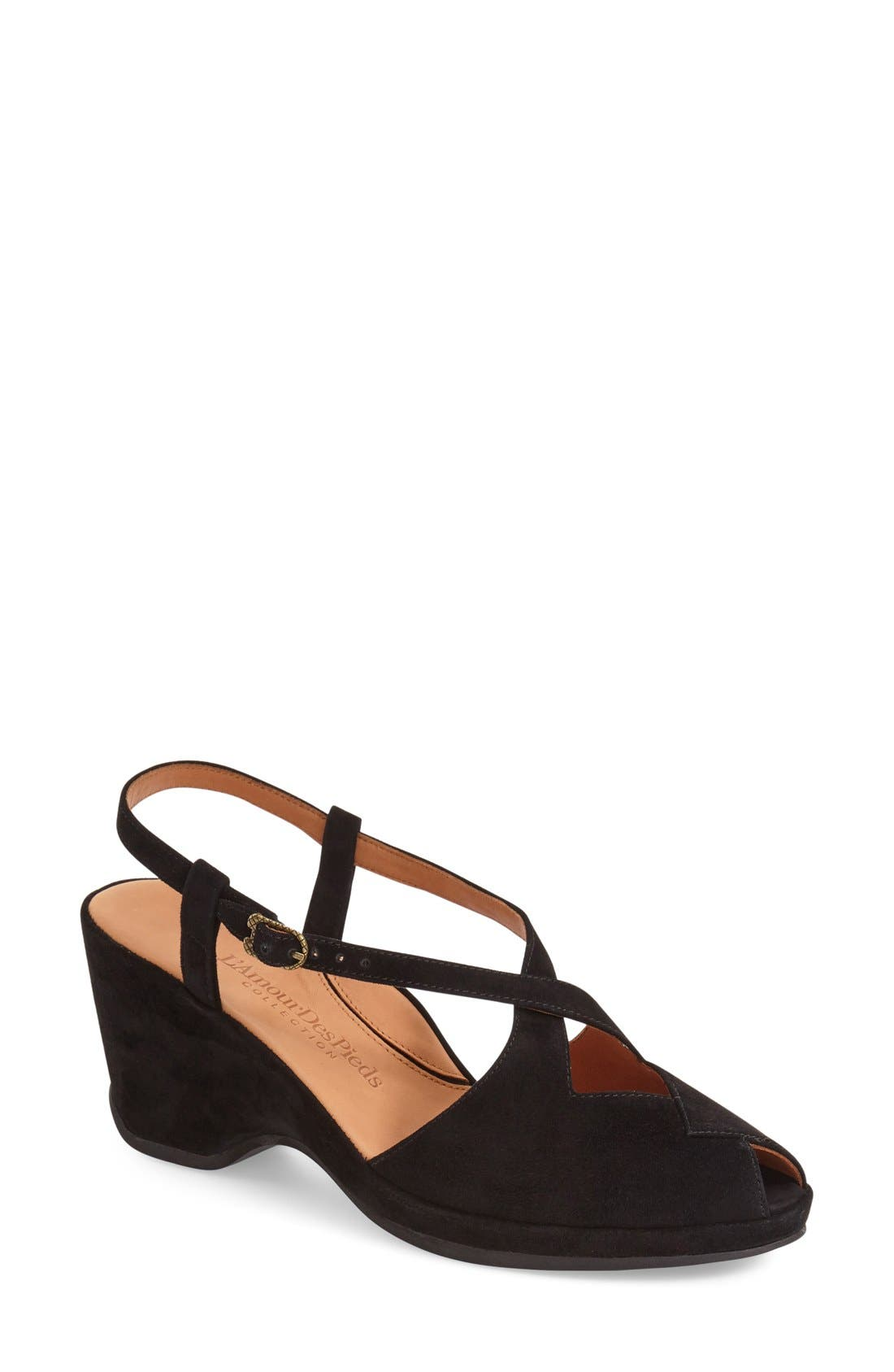 'Oraine' Sandal,                         Main,                         color, BLACK SUEDE LEATHER