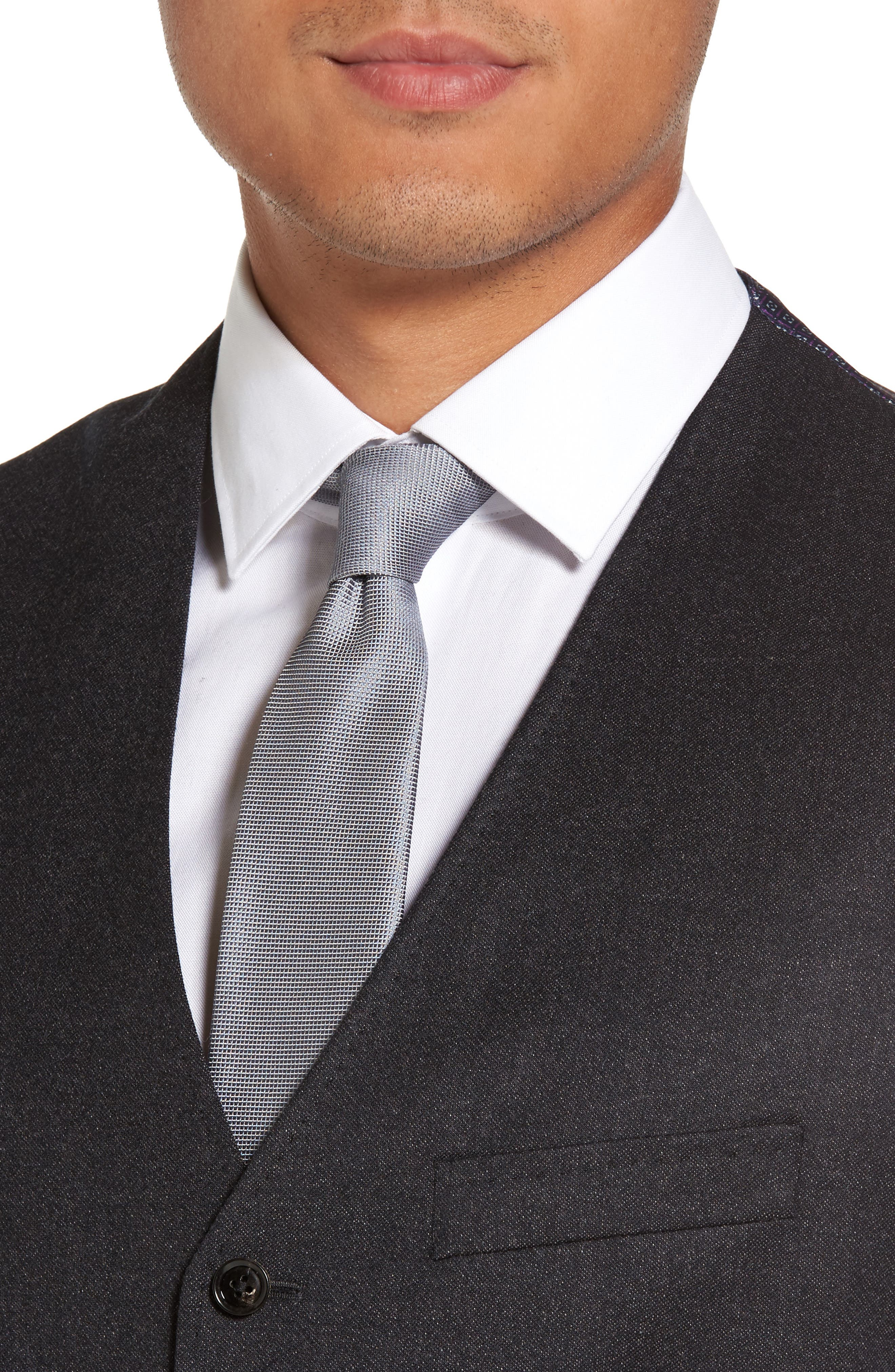 Troy Trim Fit Solid Wool Vest,                             Alternate thumbnail 4, color,                             502