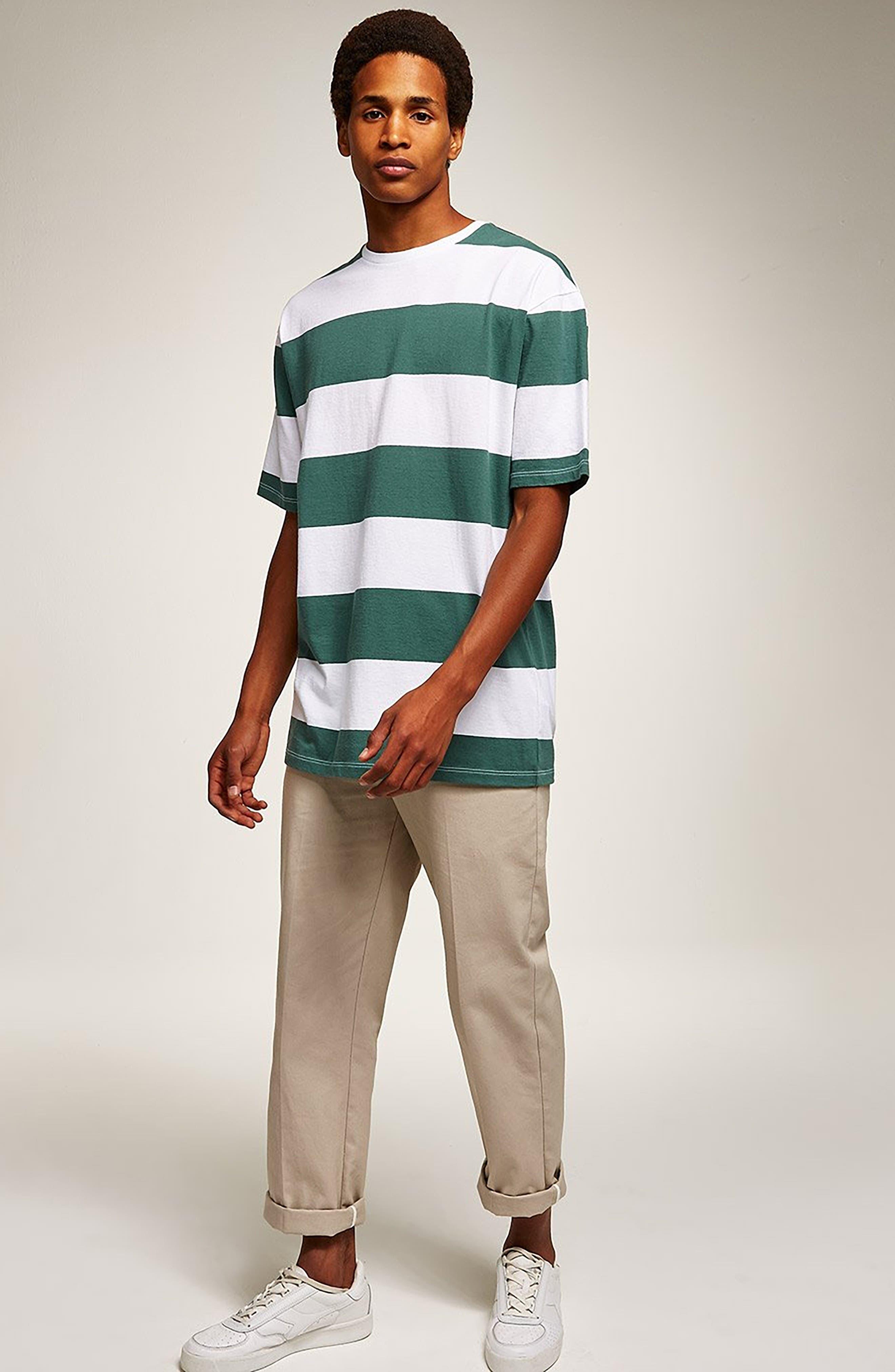 Wide Stripe Classic Fit T-Shirt,                             Alternate thumbnail 5, color,                             GREEN MULTI