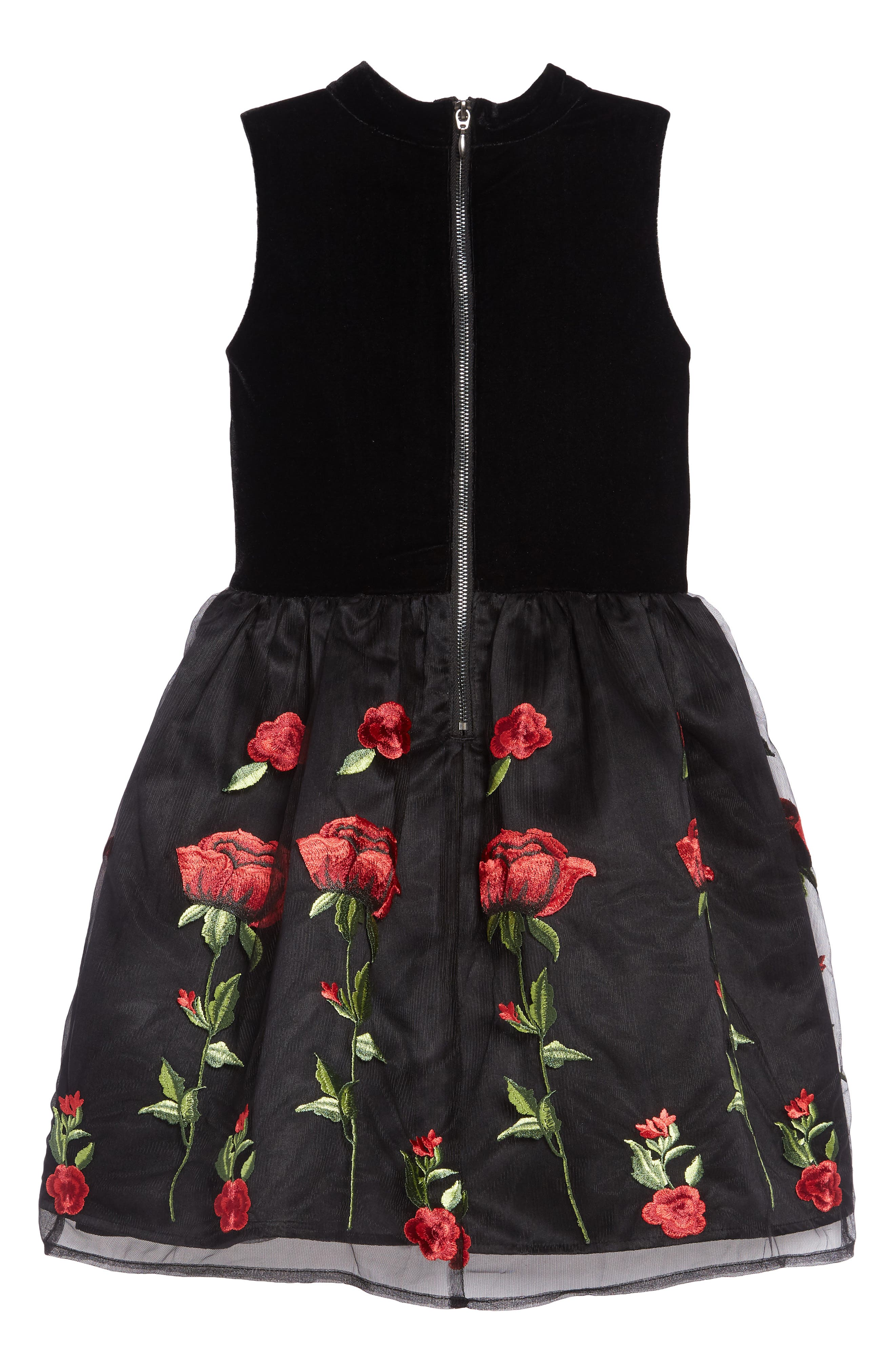 BLUSH BY US ANGELS,                             Floral Embroidered Stretch Velvet Dress,                             Alternate thumbnail 2, color,                             BLACK/RED