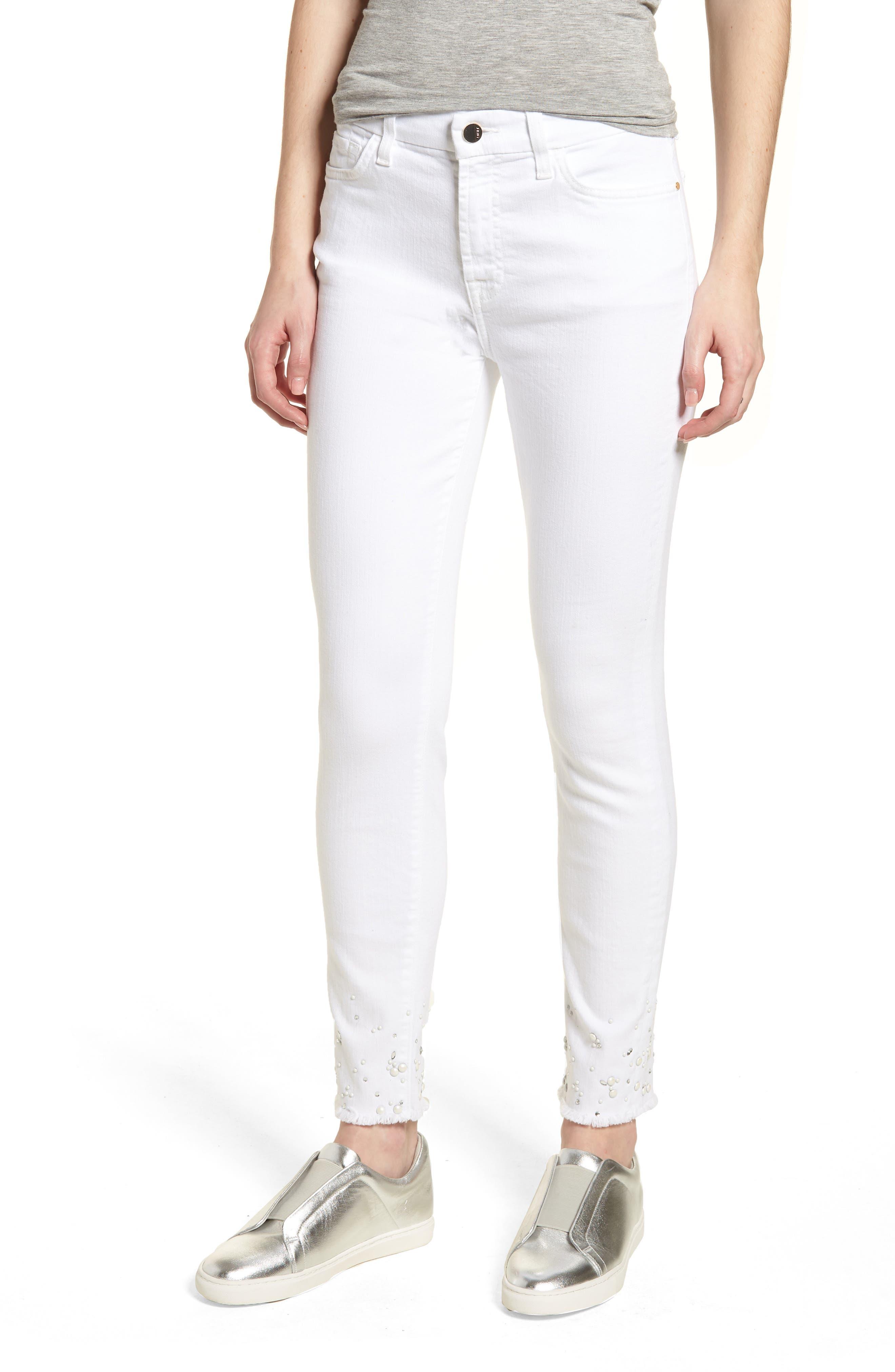 Crystal Hem Ankle Skinny Jeans,                             Main thumbnail 1, color,                             WHITE