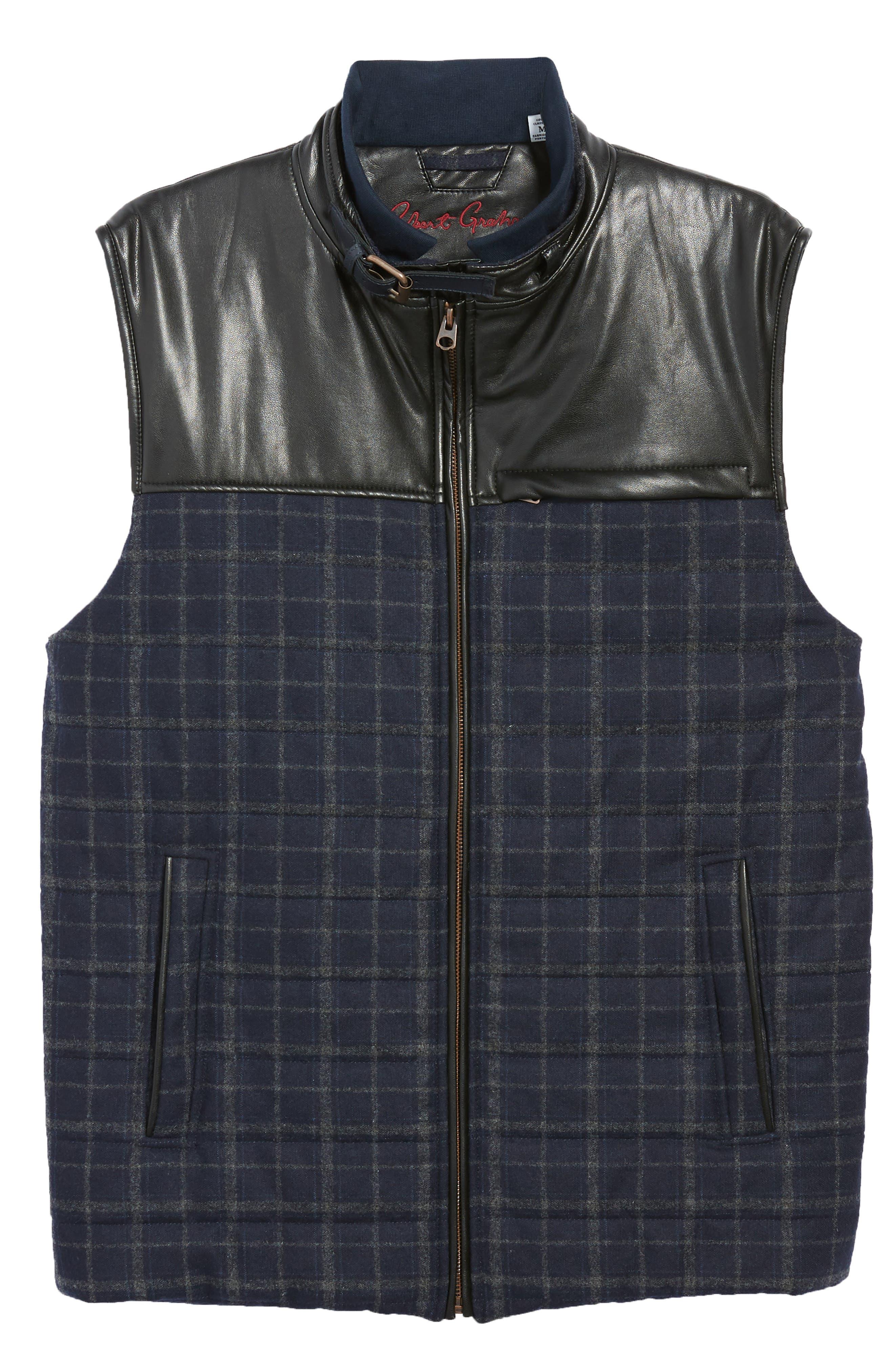 McClement Leather Trim Wool Blend Vest,                             Alternate thumbnail 6, color,                             BLUE