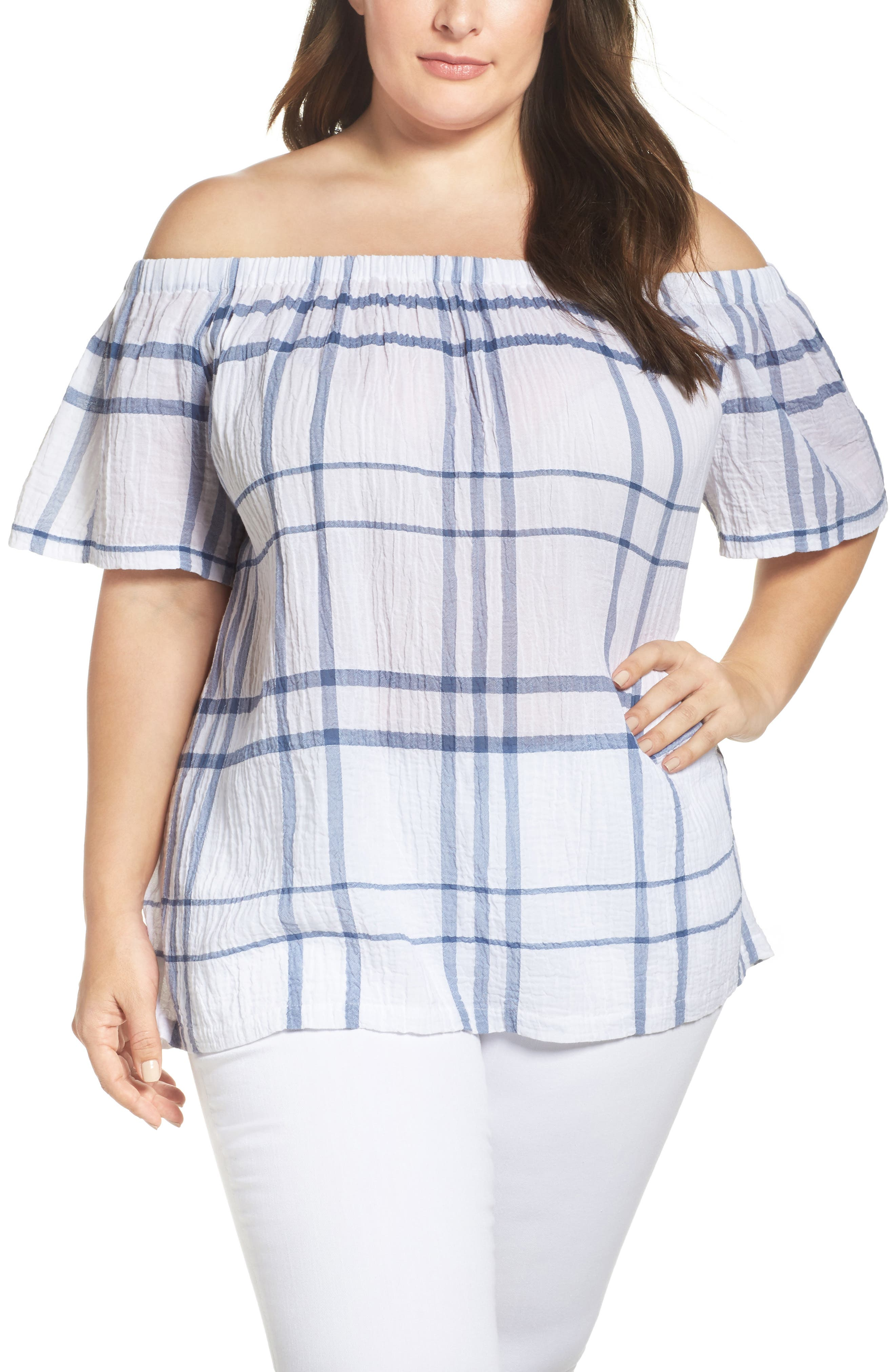 Vince Camuto Timeless Plaid Off the Shoulder Blouse,                             Main thumbnail 1, color,                             400