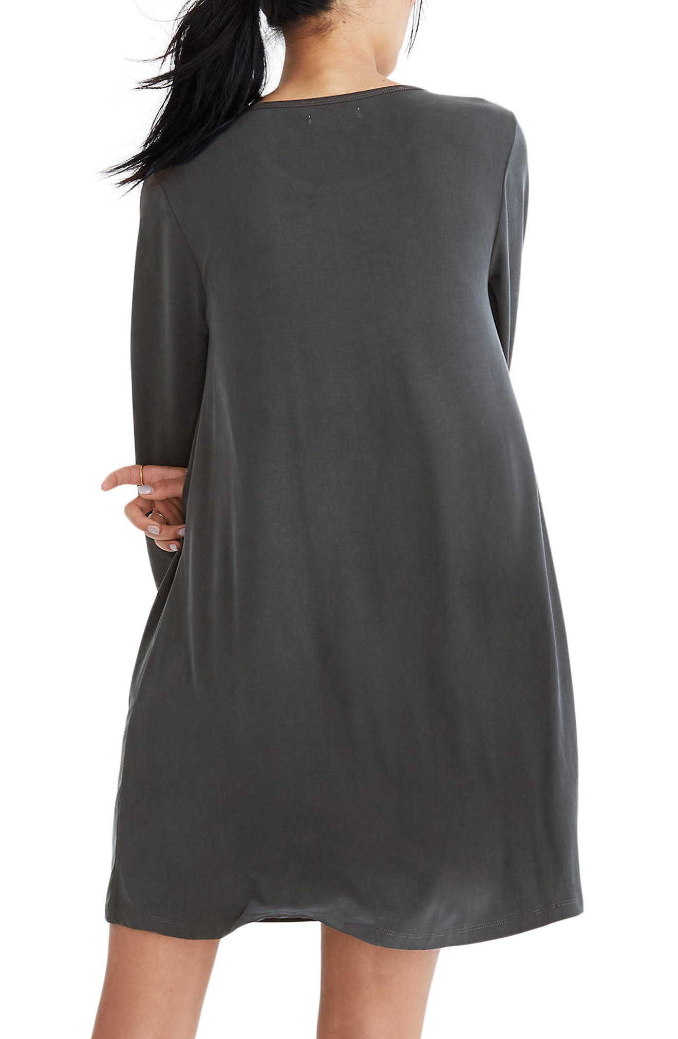 Sandwashed Swingy T-Shirt Dress,                             Alternate thumbnail 2, color,                             001