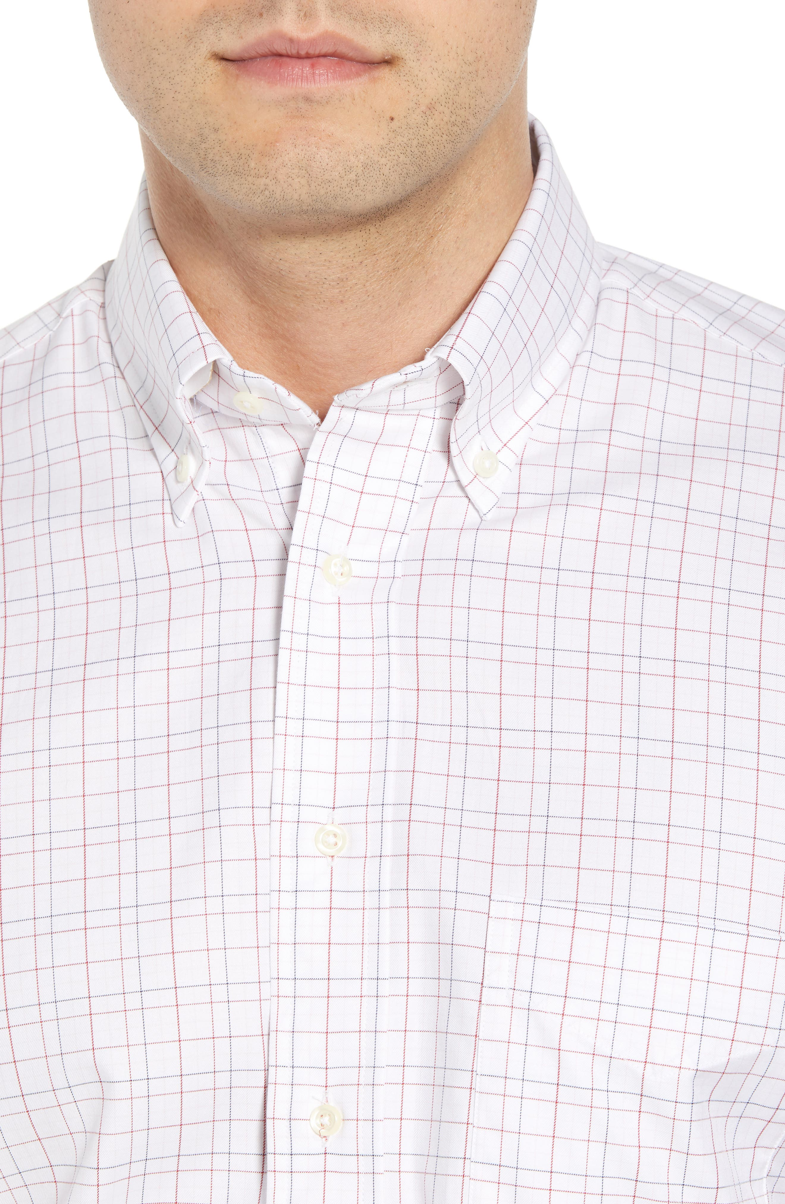 Tailored Fit Plaid Dress Shirt,                             Alternate thumbnail 2, color,                             WHITE/ BURGUNDY
