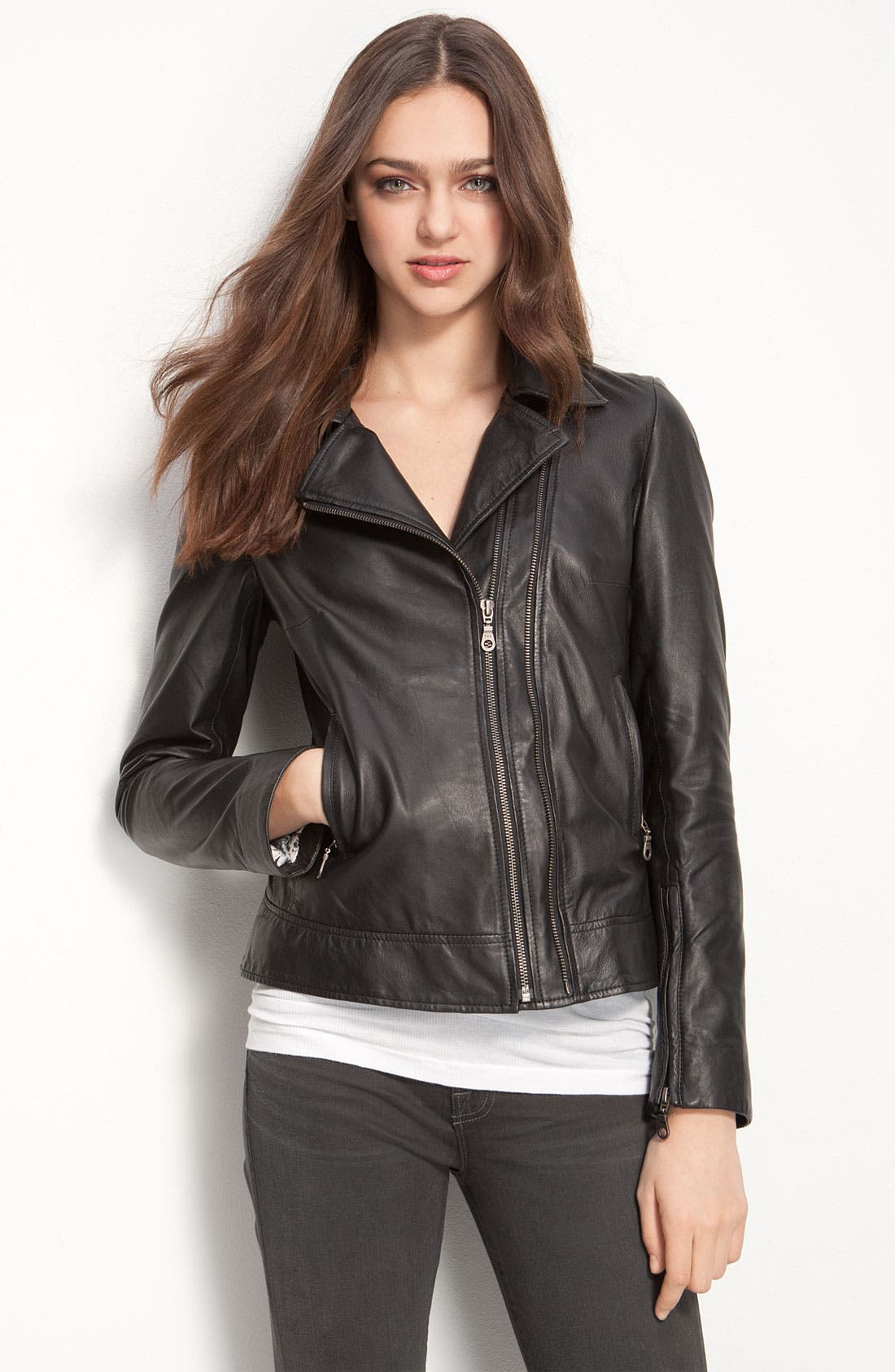 Kenna-T Classic Leather Moto Jacket,                             Main thumbnail 1, color,                             001