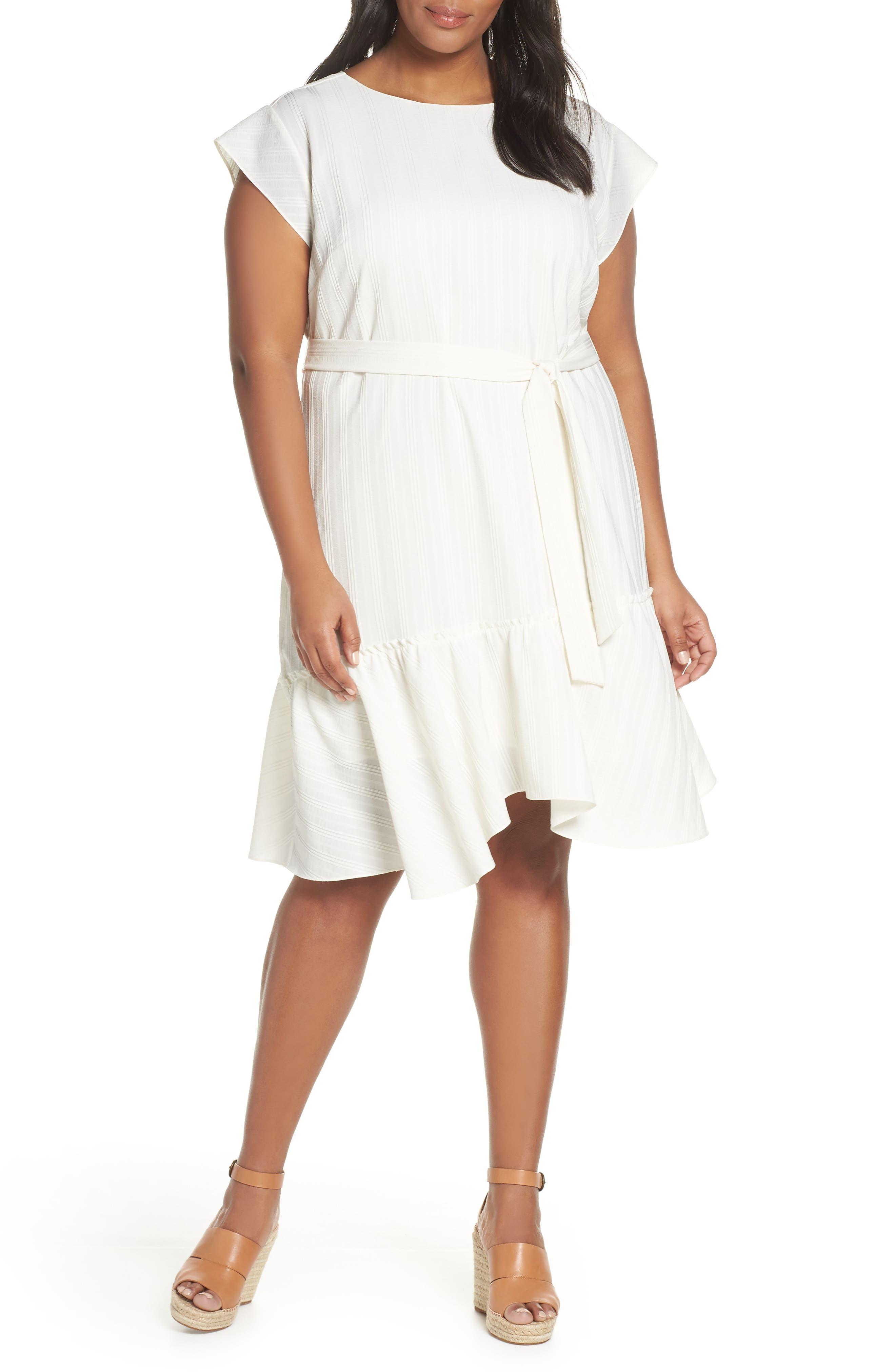 Plus Size Vince Camuto Asymmetrical Ruffle Hem Dress, Ivory