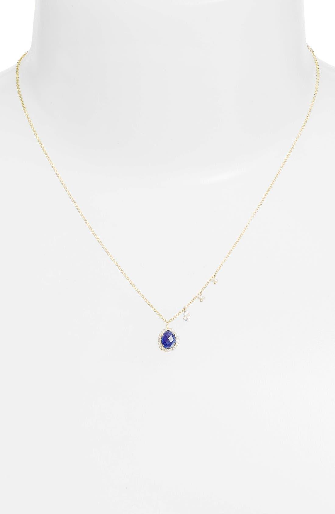 Mini Stone Diamond Pendant Necklace,                             Alternate thumbnail 5, color,                             YELLOW GOLD/ BLUE SAPPHIRE