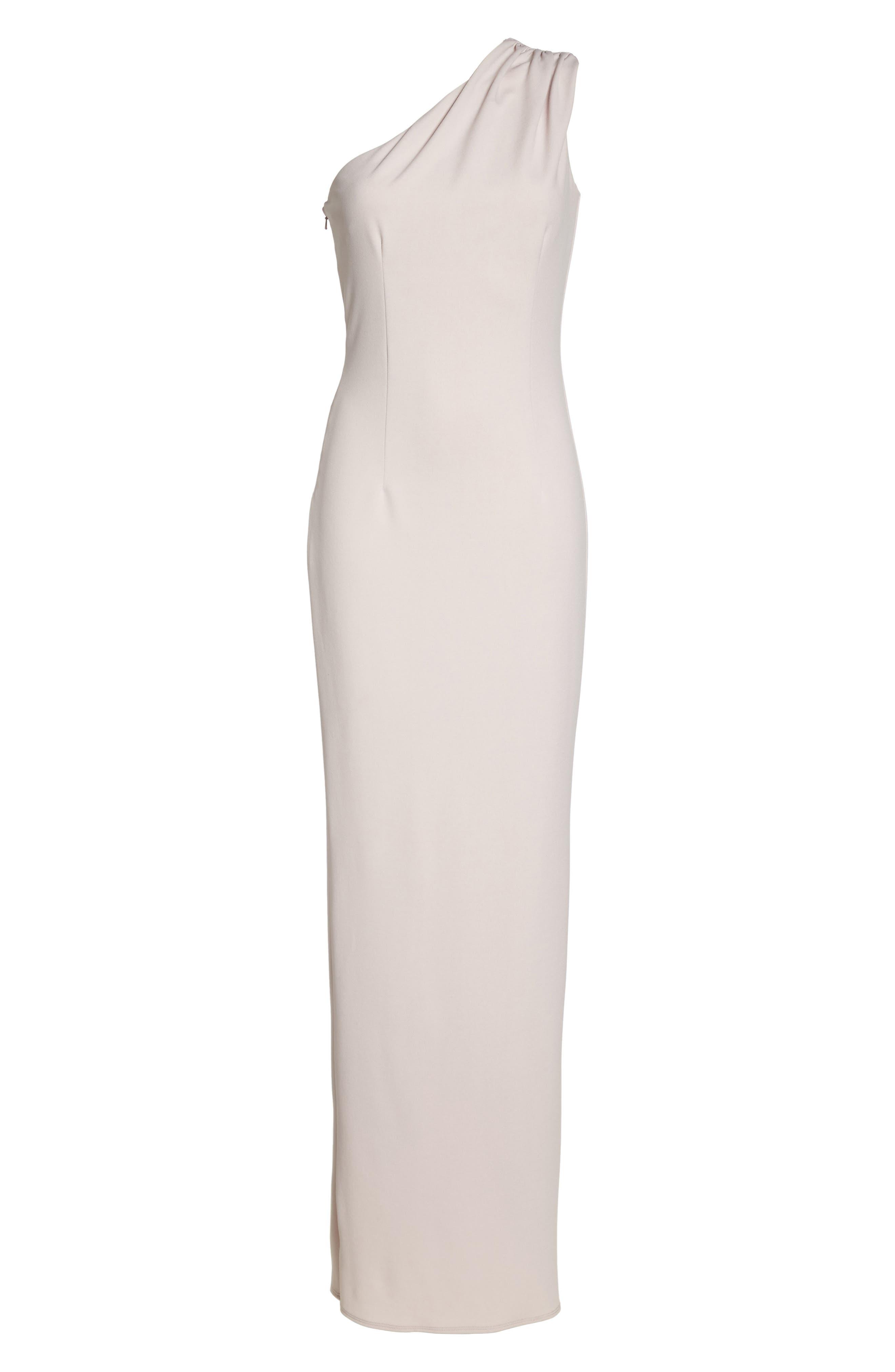 Angelina One-Shoulder Crepe Column Gown,                             Alternate thumbnail 6, color,                             BALLET