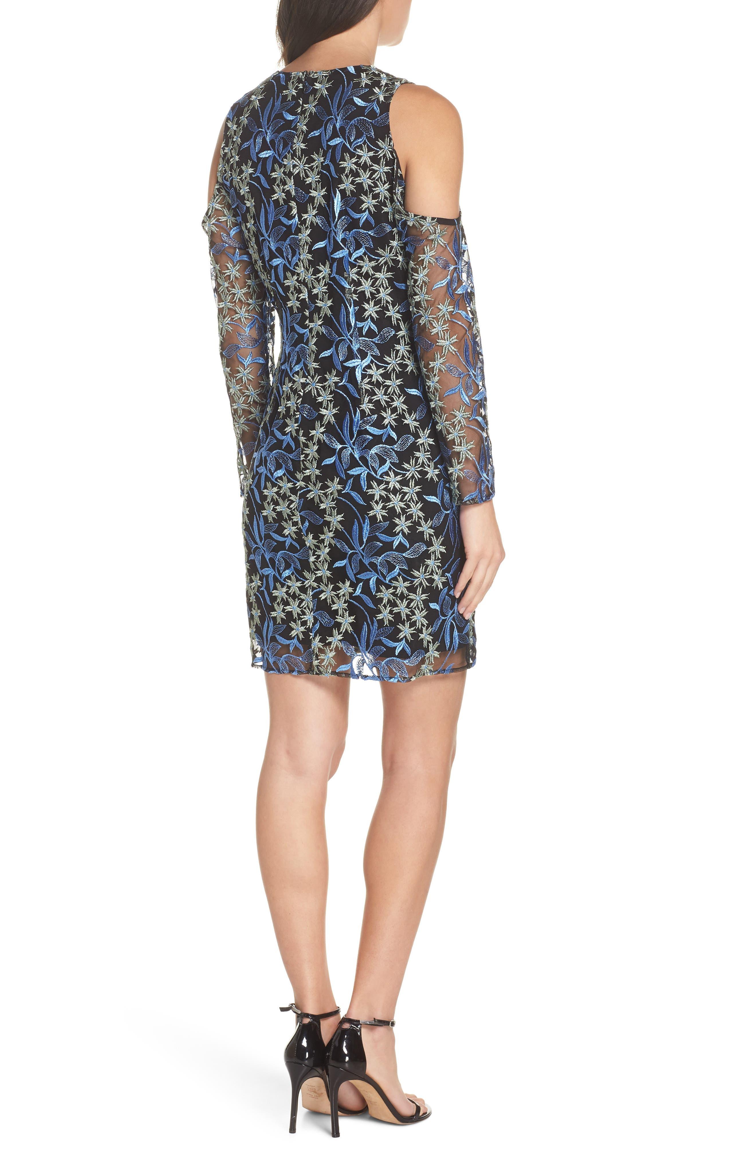 Floral Embroidered Cold Shoulder Dress,                             Alternate thumbnail 2, color,                             BLUE/ GREEN