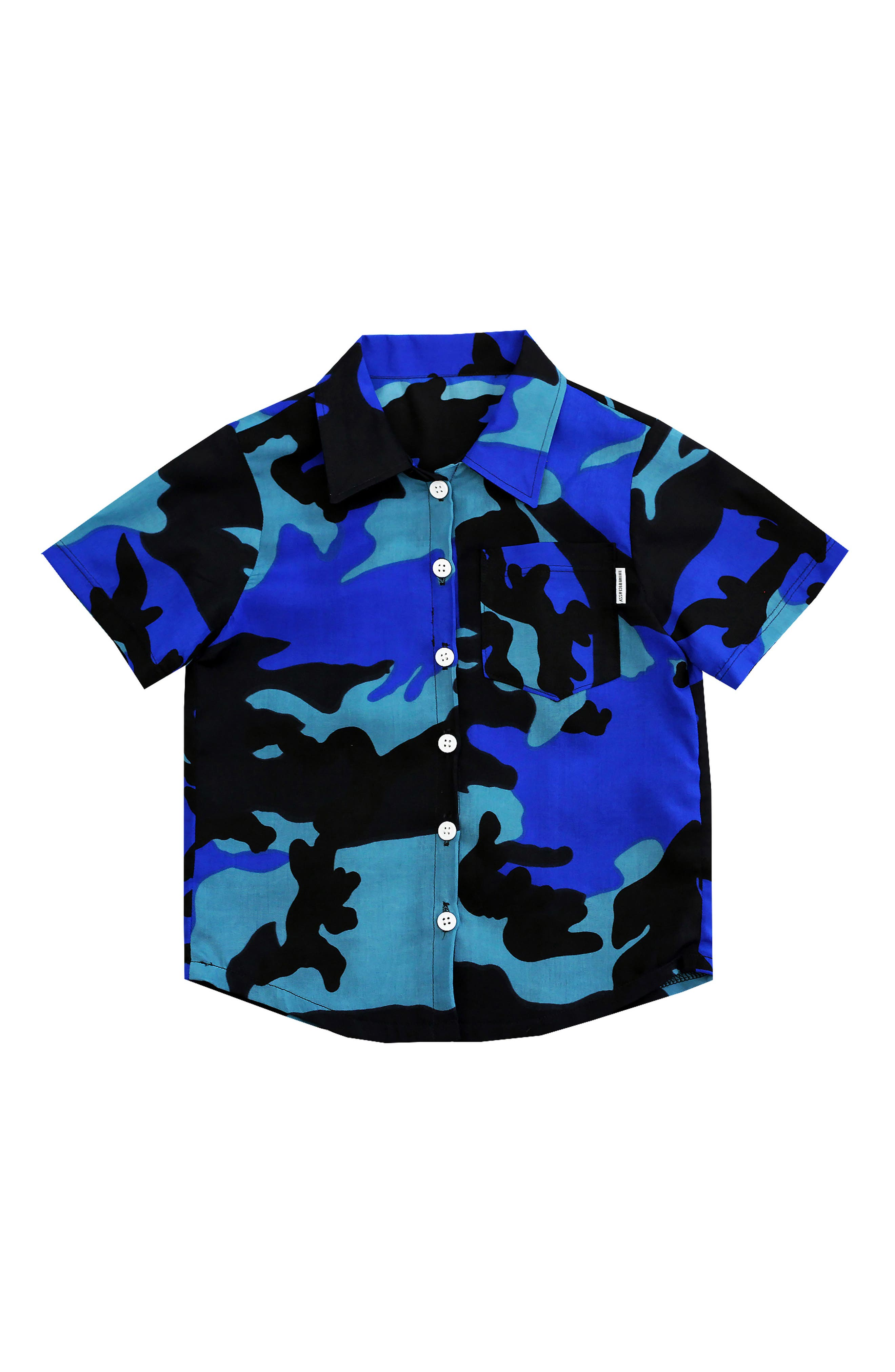 Blue Camo Woven Shirt,                         Main,                         color, 400