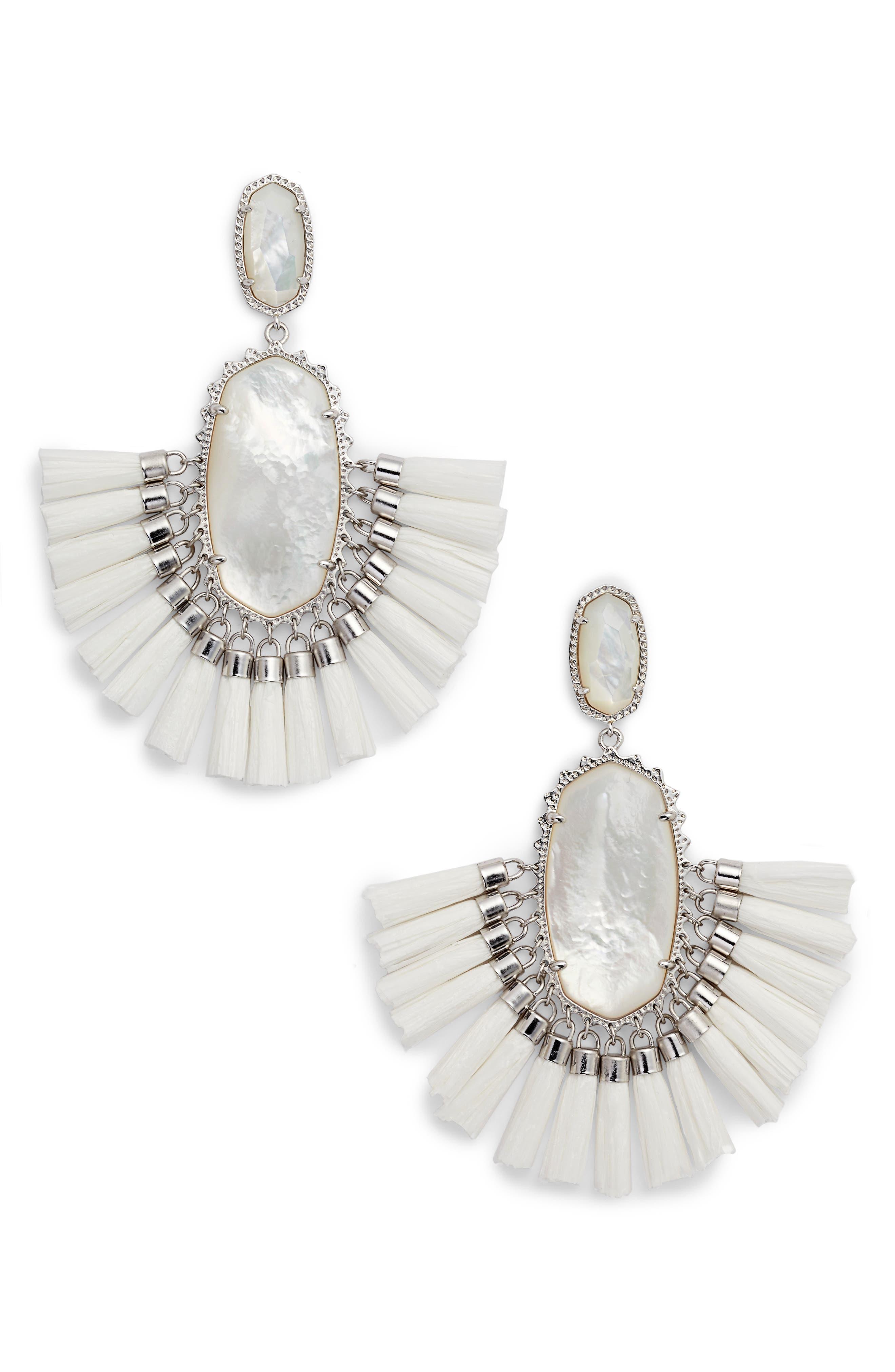 Cristina Stone Tassel Earrings,                         Main,                         color, 100