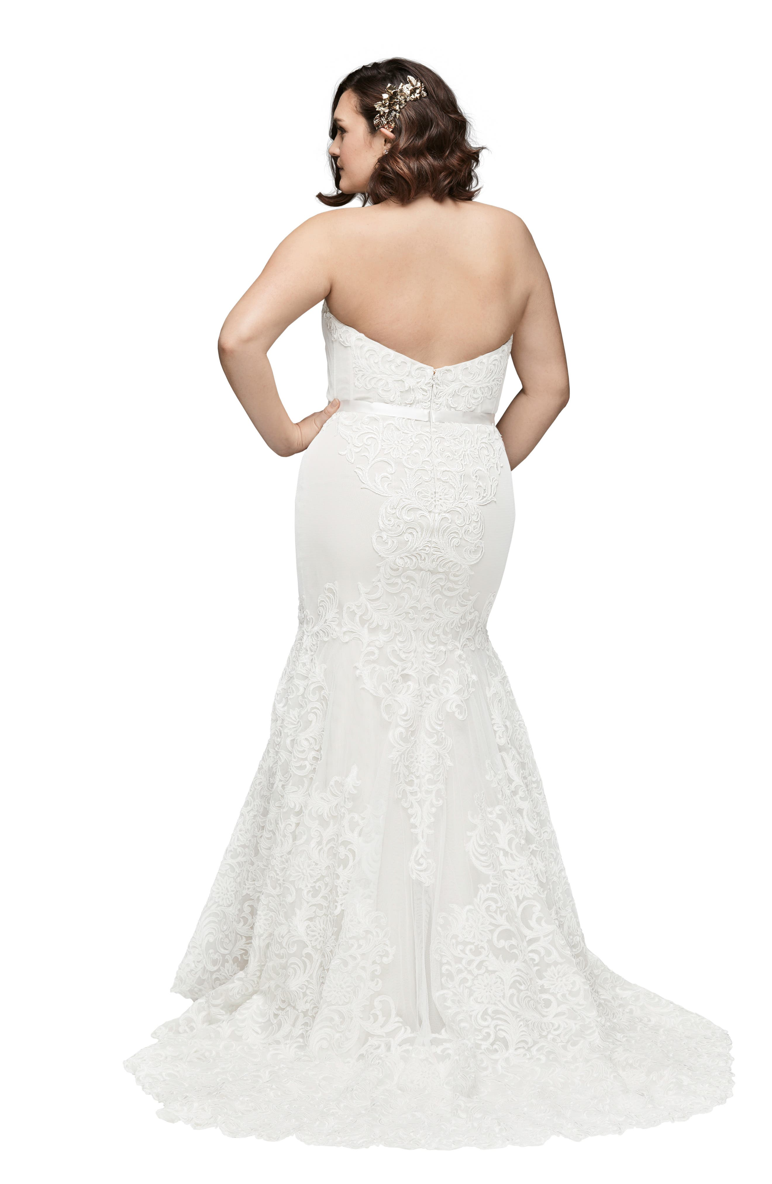 Alice Embroidered Strapless Trumpet Gown,                             Alternate thumbnail 2, color,                             IVORY/ IVORY/ GARDENIA