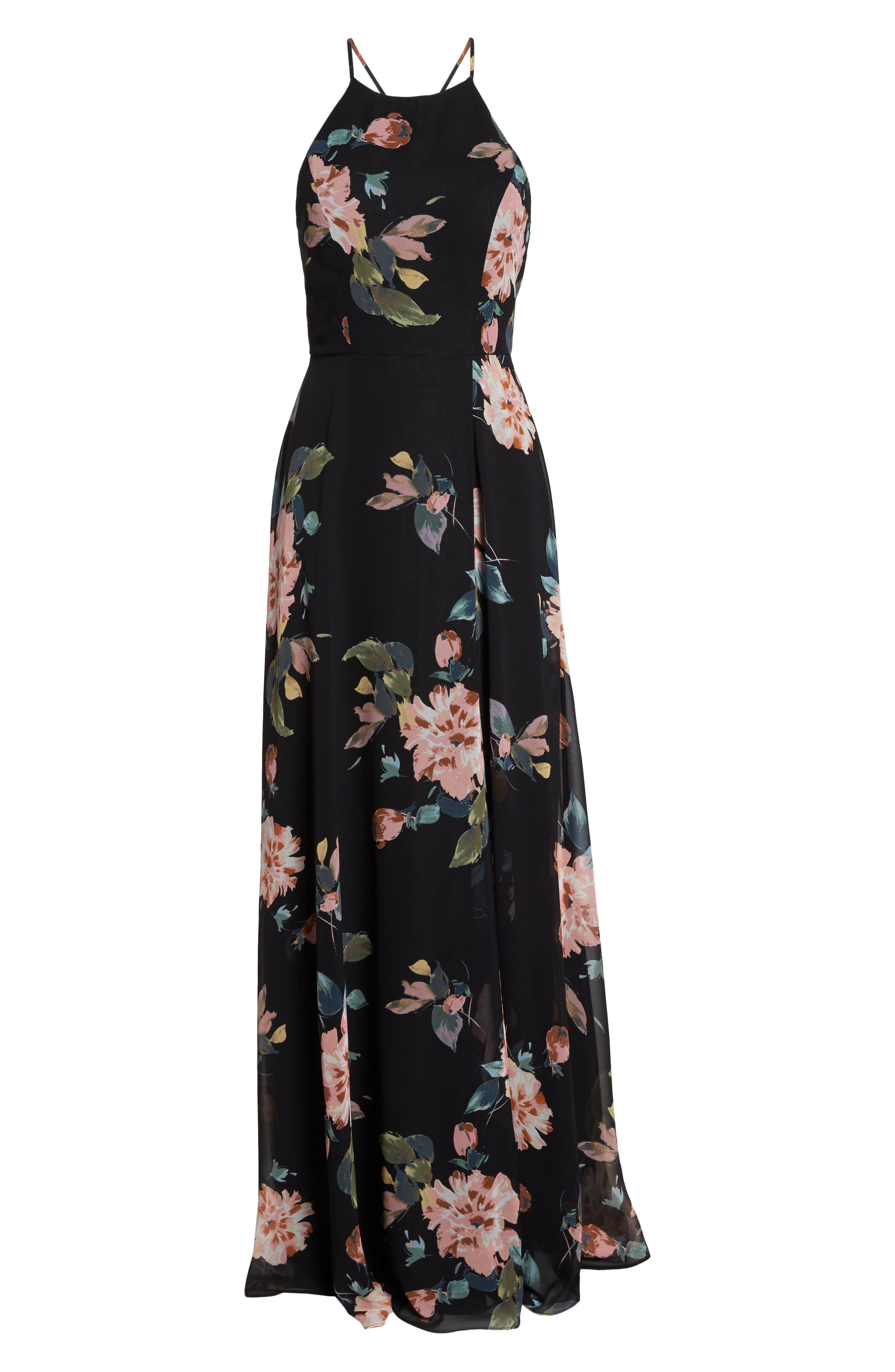 Collection Kayla Ohana Print Gown,                             Alternate thumbnail 8, color,                             BLACK MULTI