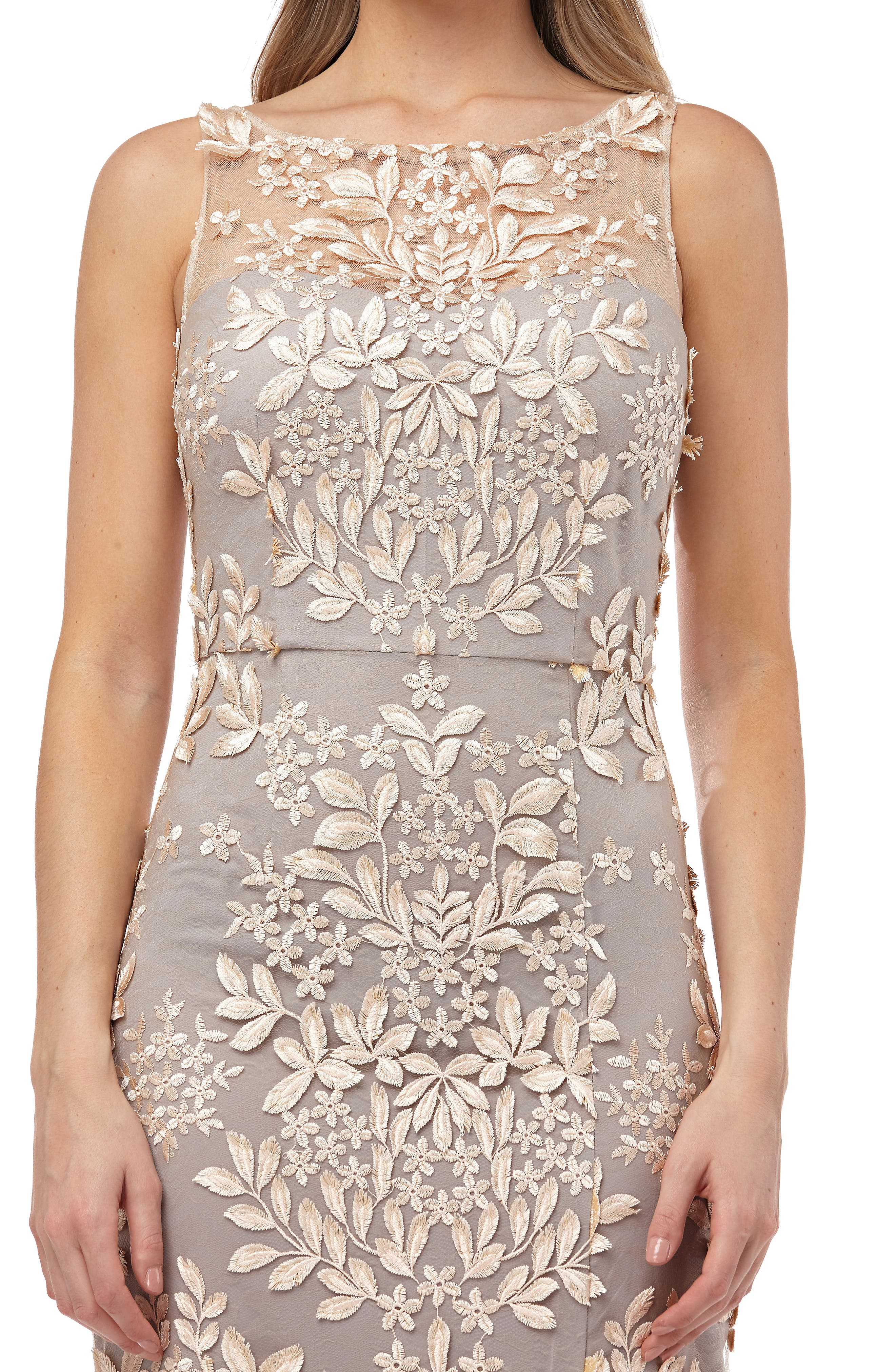 Leaf Embroidered Gown,                             Alternate thumbnail 4, color,                             270