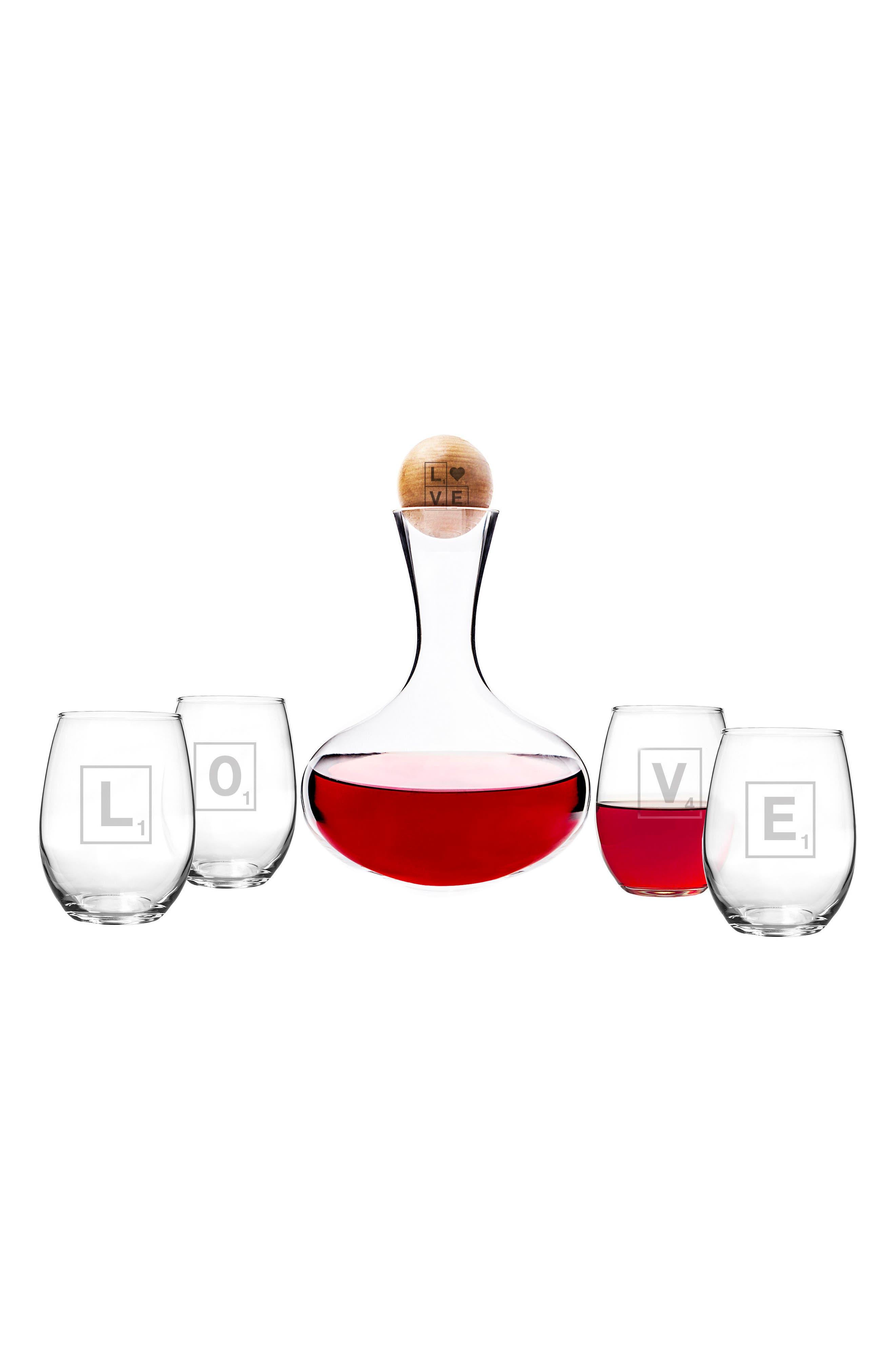 Valentine Glass 6-Piece Decanter & Glasses Set,                             Main thumbnail 2, color,