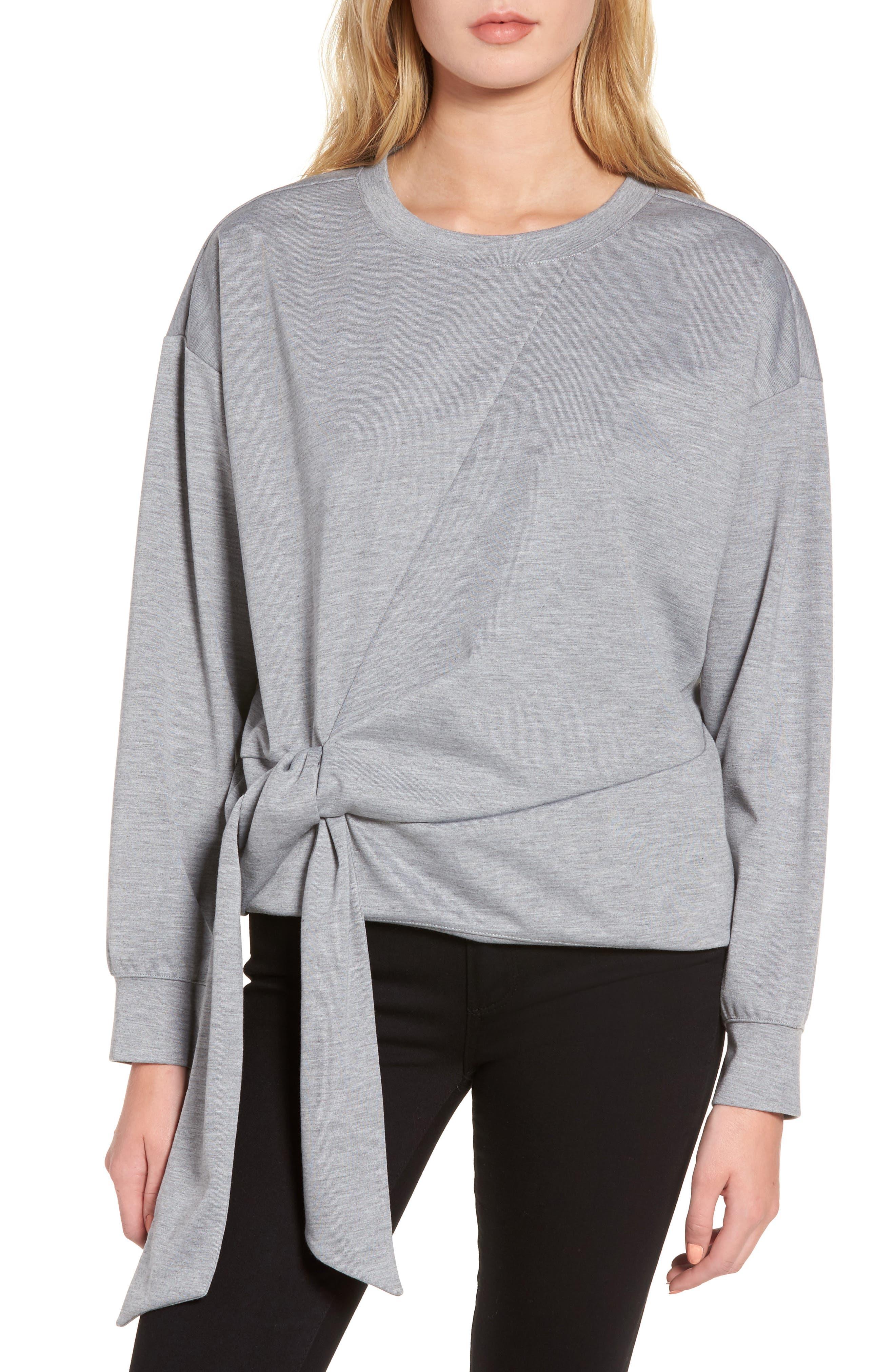 Tie Front Sweatshirt,                         Main,                         color, 030