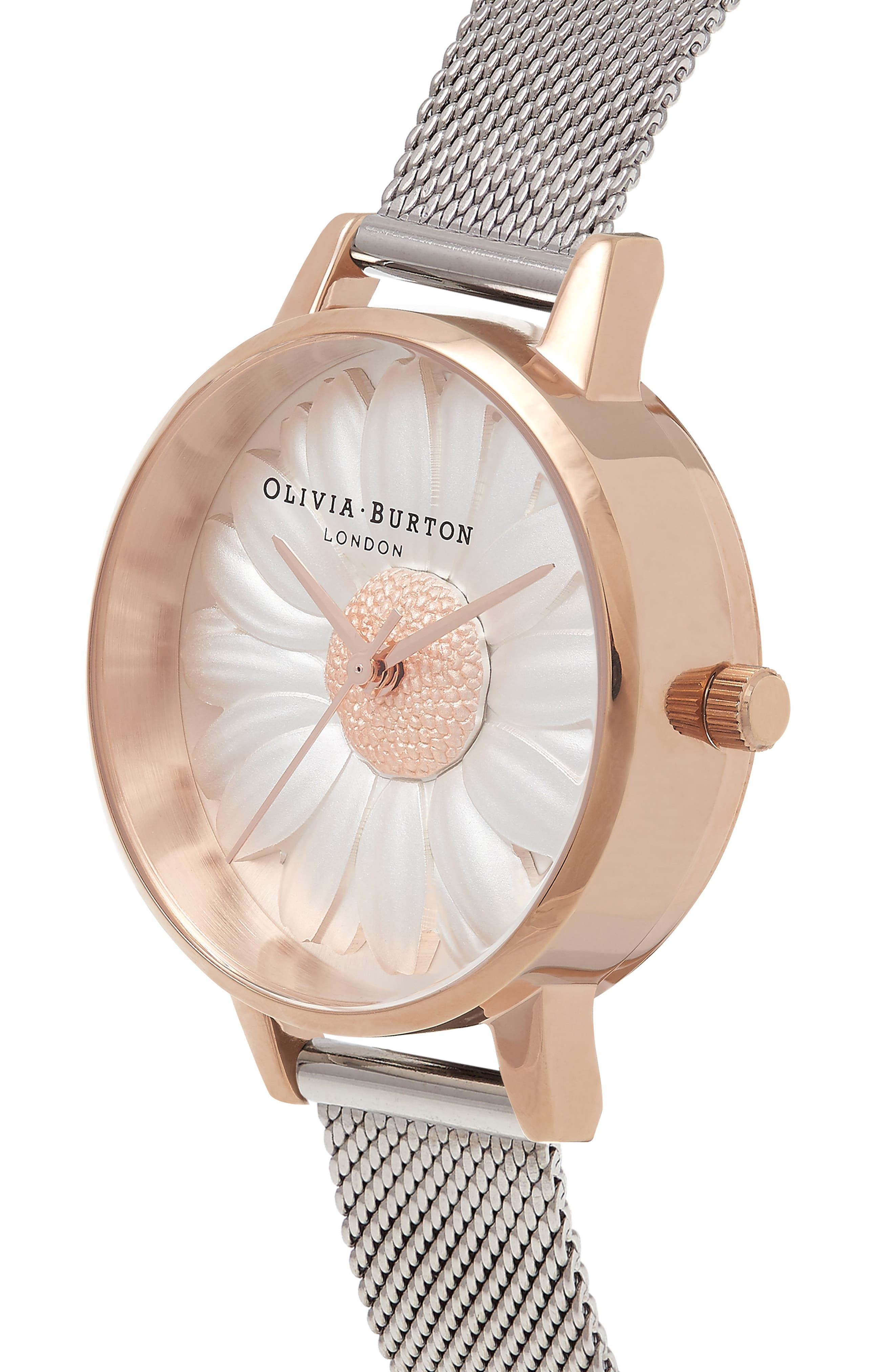 Flower Show Mesh Strap Watch, 30mm,                             Alternate thumbnail 3, color,                             SILVER/ DAISY/ ROSE GOLD