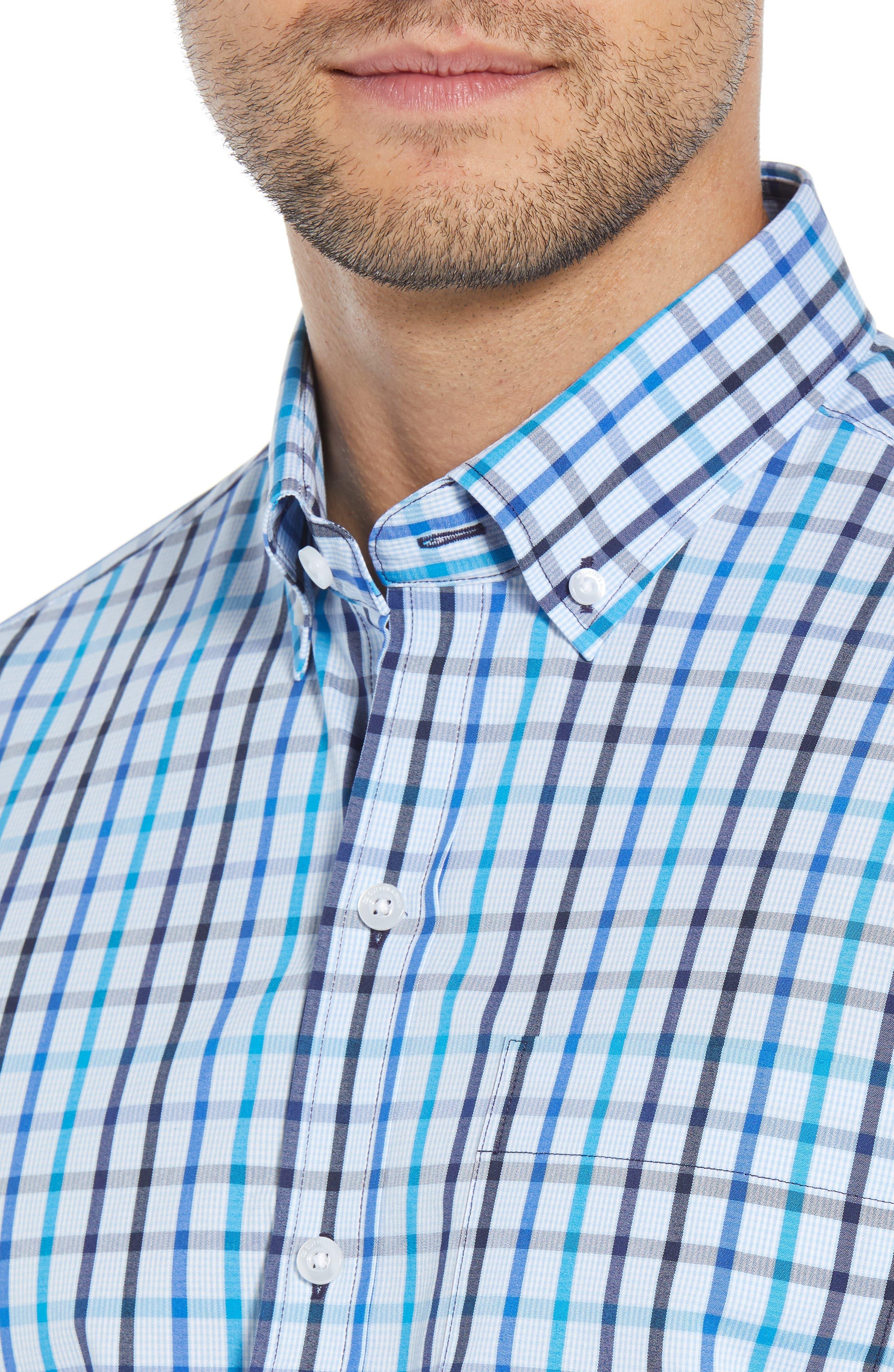 Clarence Regular Fit Plaid Sport Shirt,                             Alternate thumbnail 2, color,                             LIBERTY NAVY