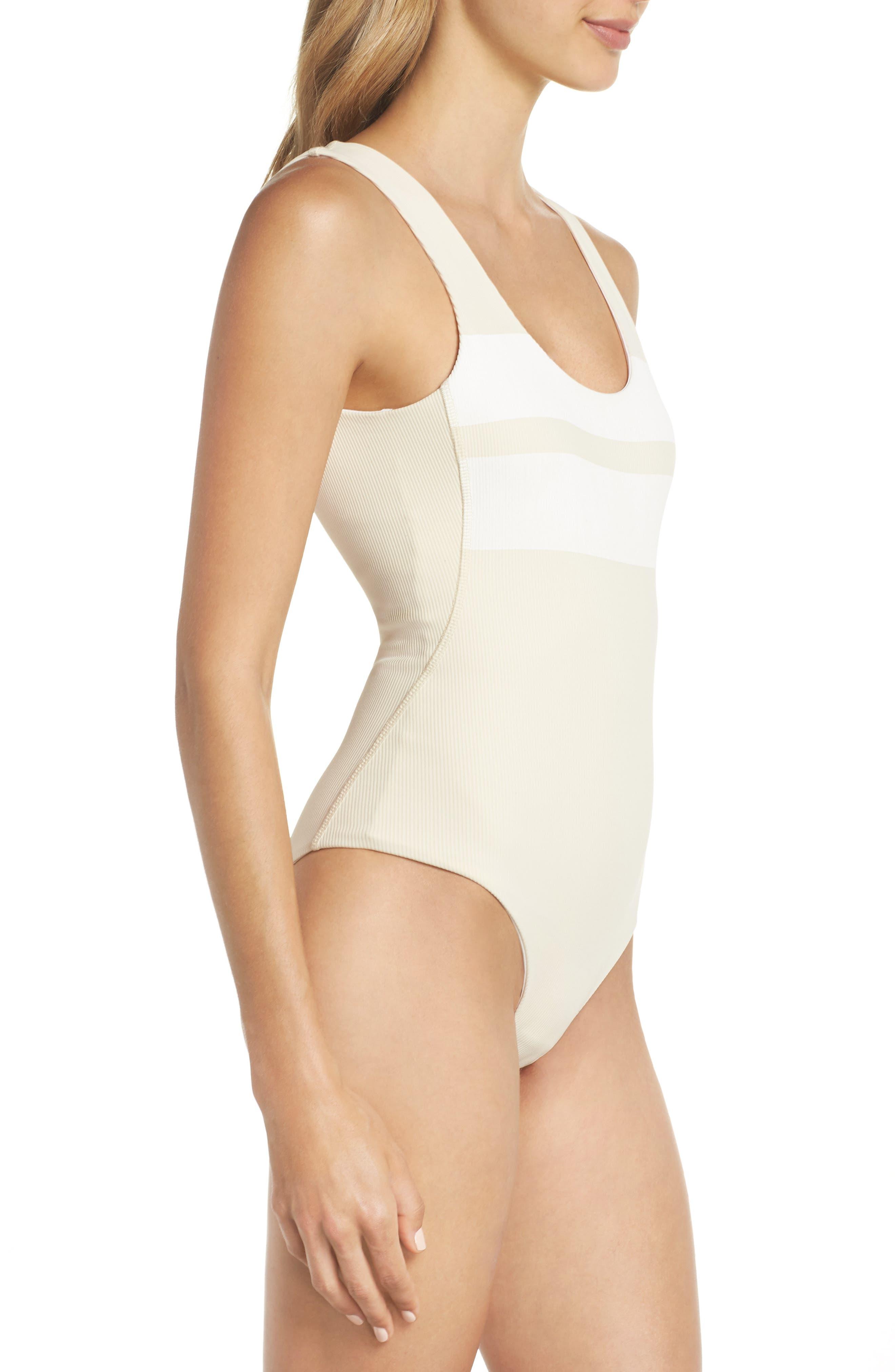 Quick Dry Block Party One-Piece Swimsuit,                             Alternate thumbnail 3, color,                             LIGHT CREAM