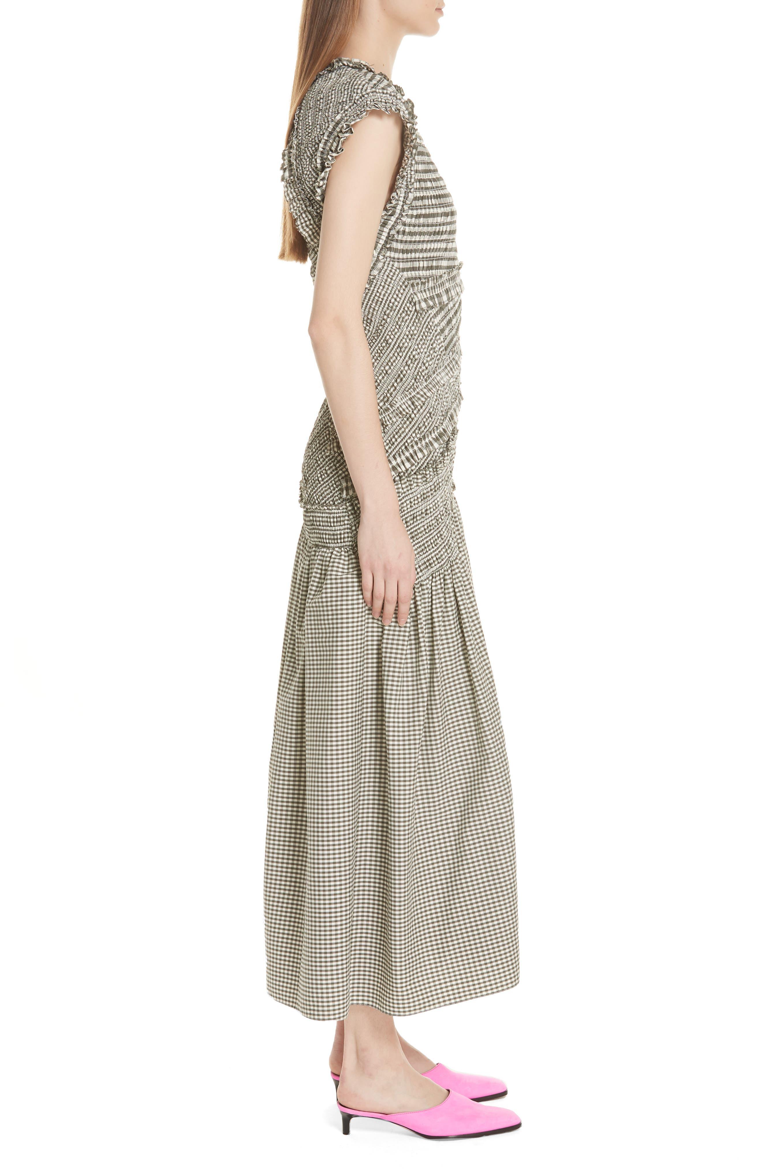 Gathered Gingham Drop Waist Dress,                             Alternate thumbnail 3, color,                             033