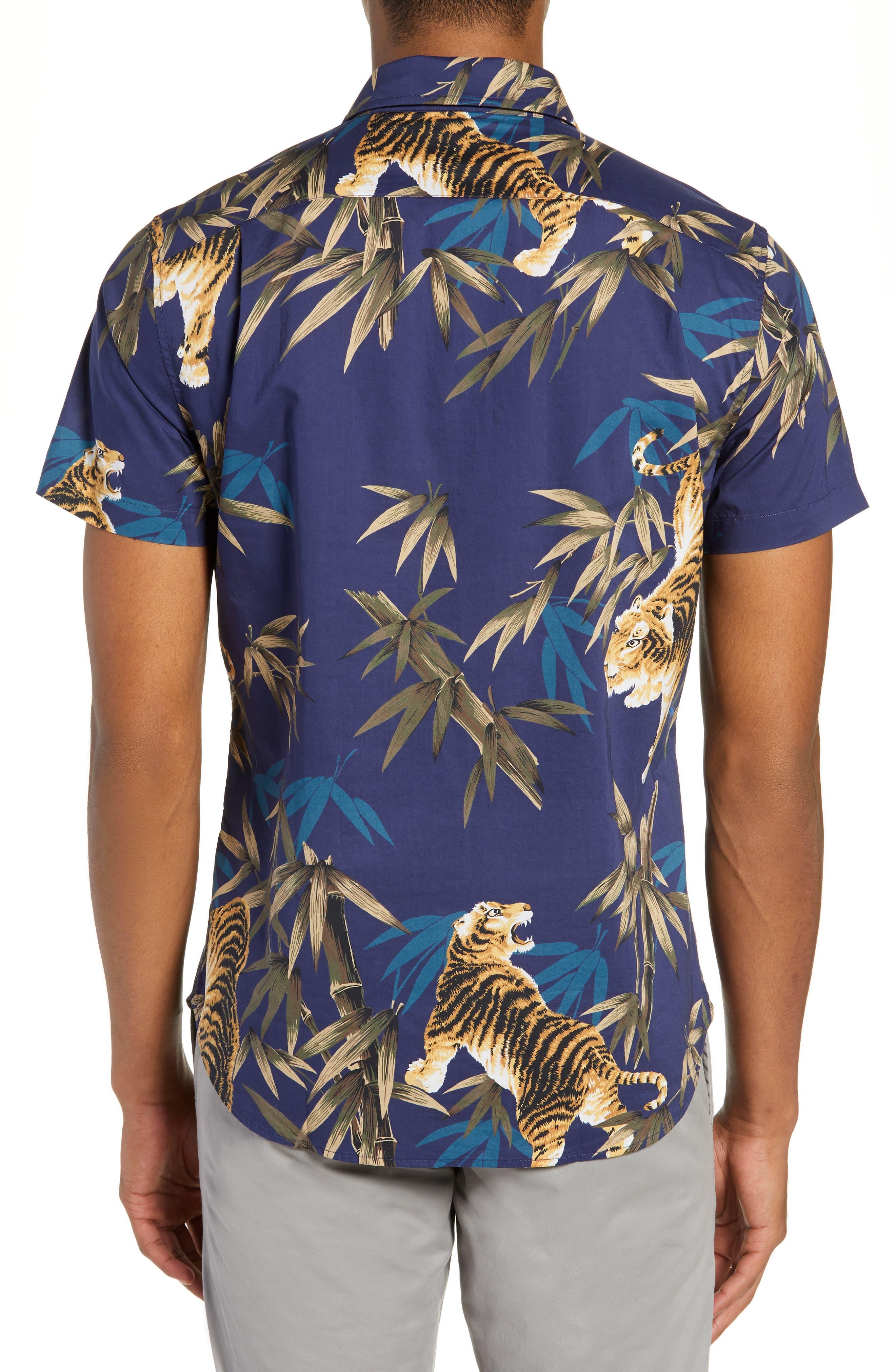 Riviera Slim Fit Tiger Print Sport Shirt,                             Alternate thumbnail 3, color,                             BAMBOO TIGER - VERDE