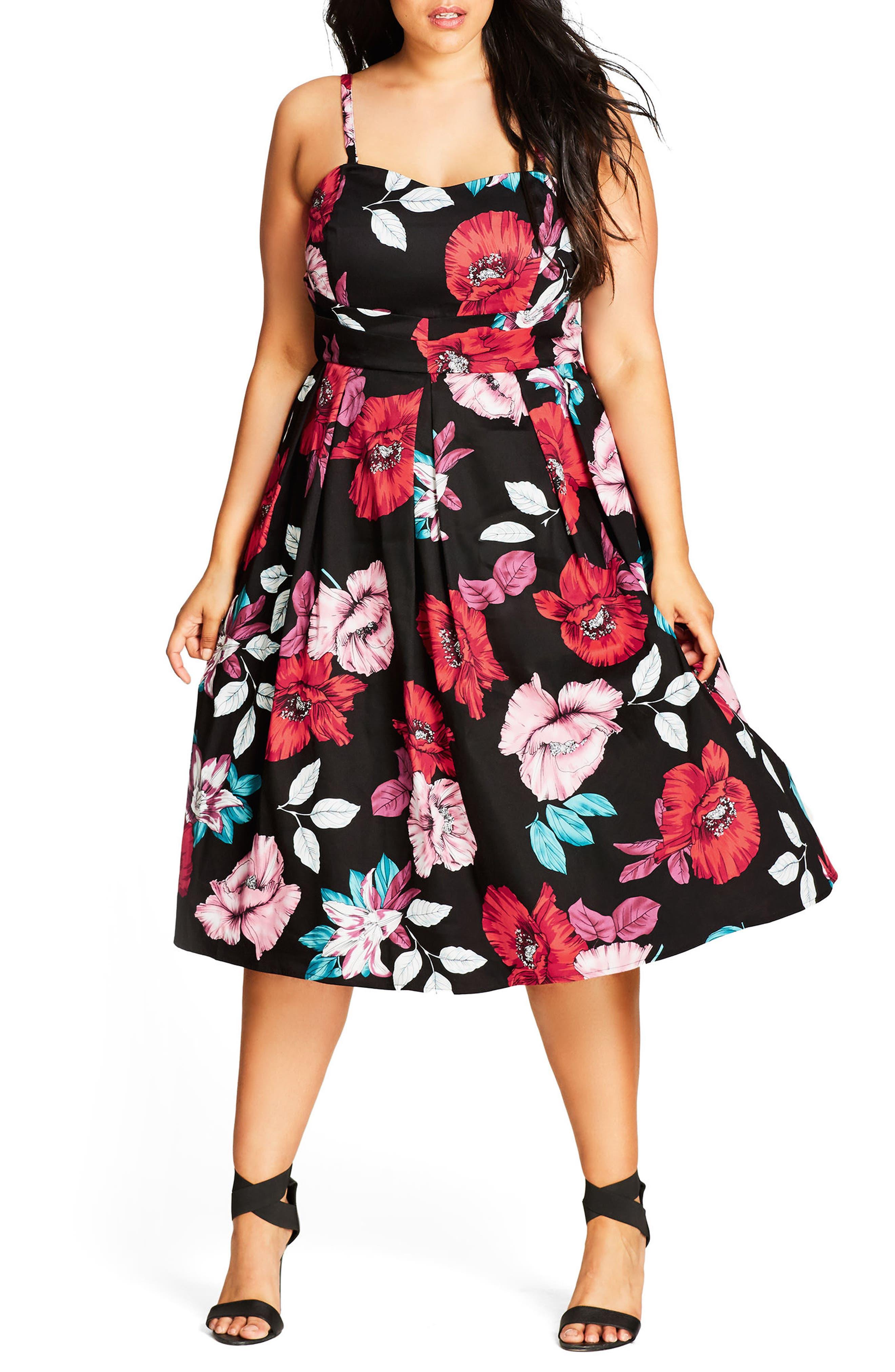 Poppy Garden Fit & Flare Dress,                             Main thumbnail 1, color,                             001