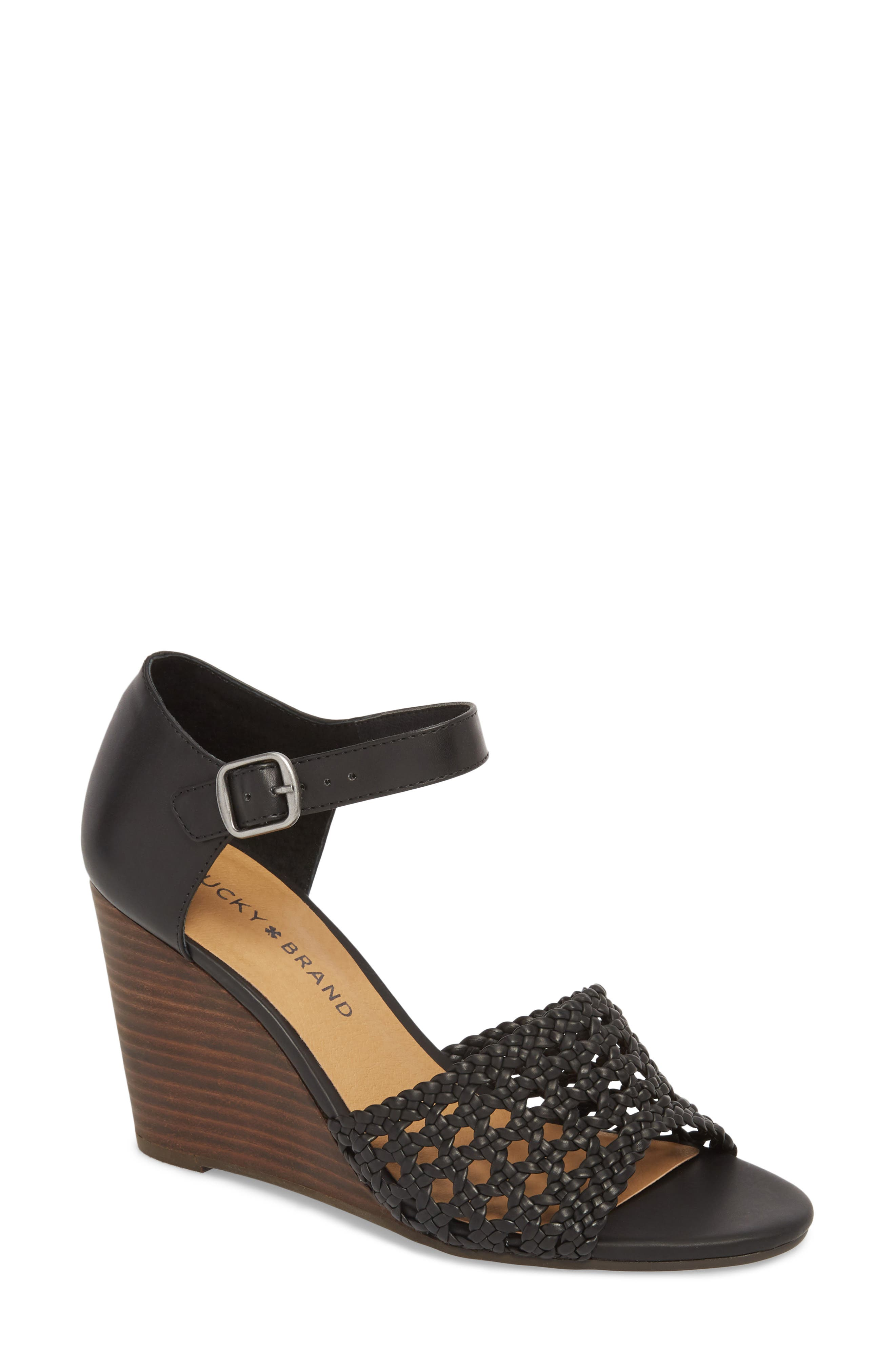 Rabekka Wedge Sandal,                         Main,                         color, BLACK LEATHER