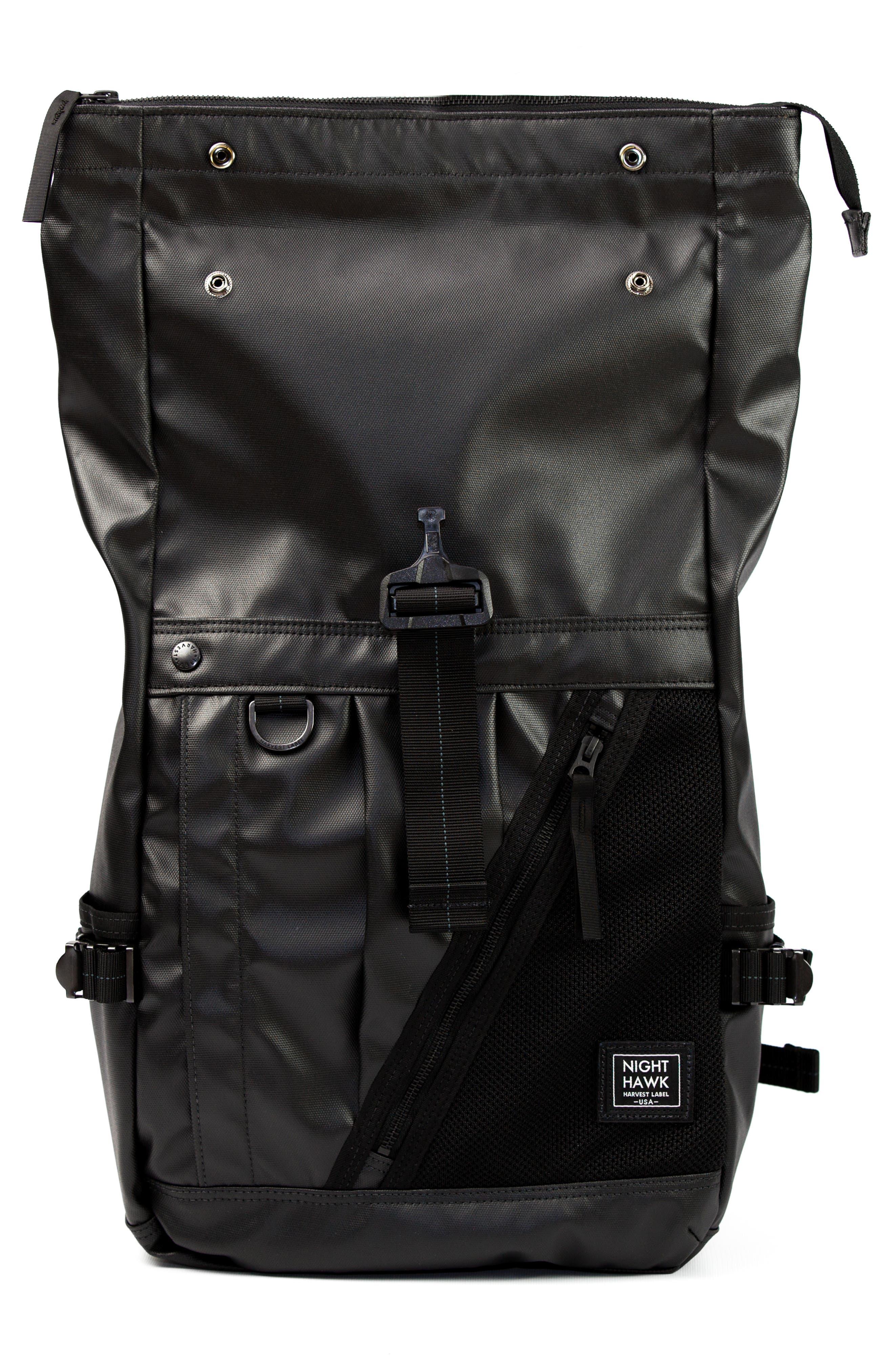 NightHawk Roll Top Backpack,                             Alternate thumbnail 5, color,                             BLACK