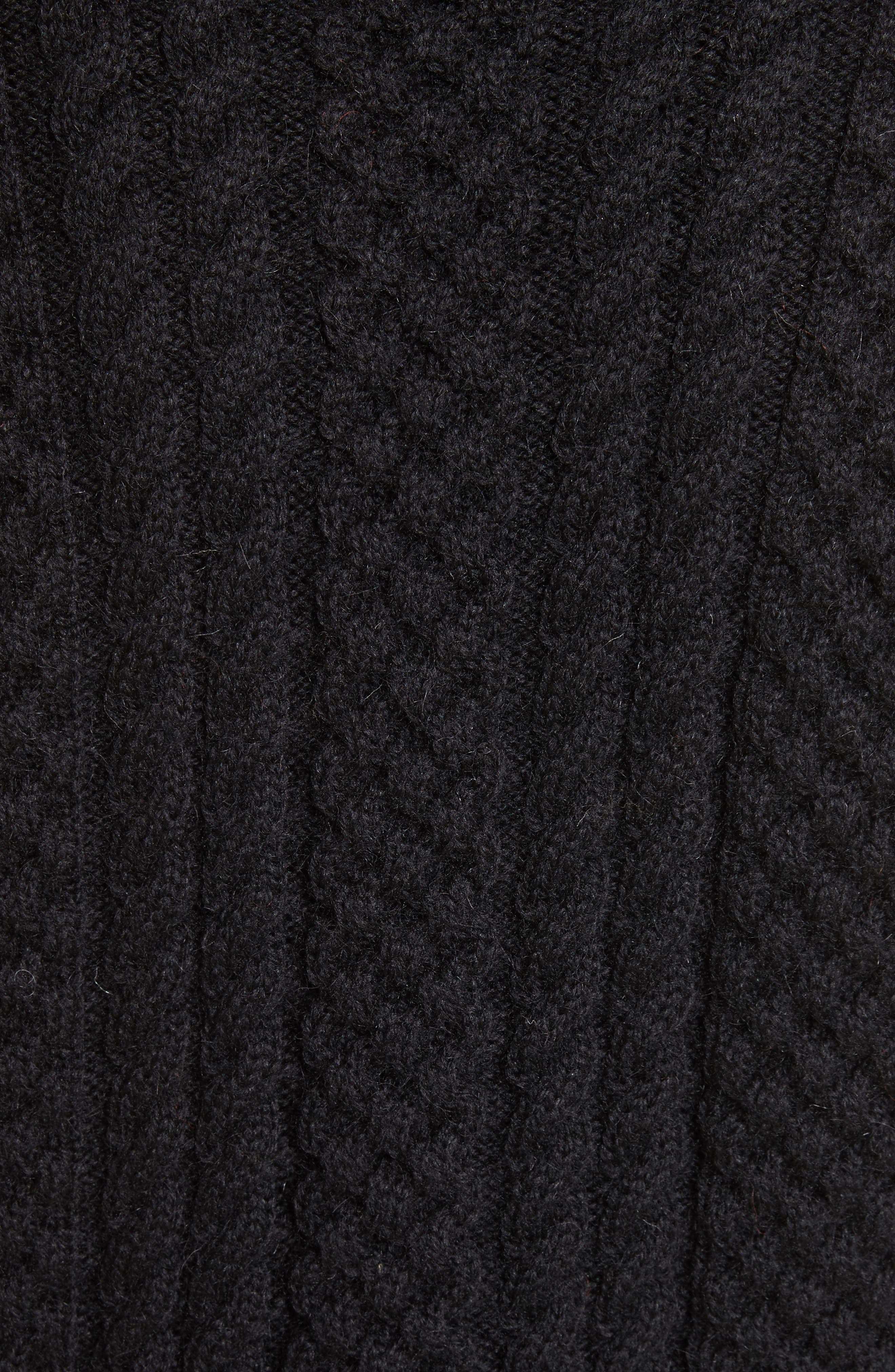 Cable Knit Wool Turtleneck Sweater,                             Alternate thumbnail 5, color,                             001