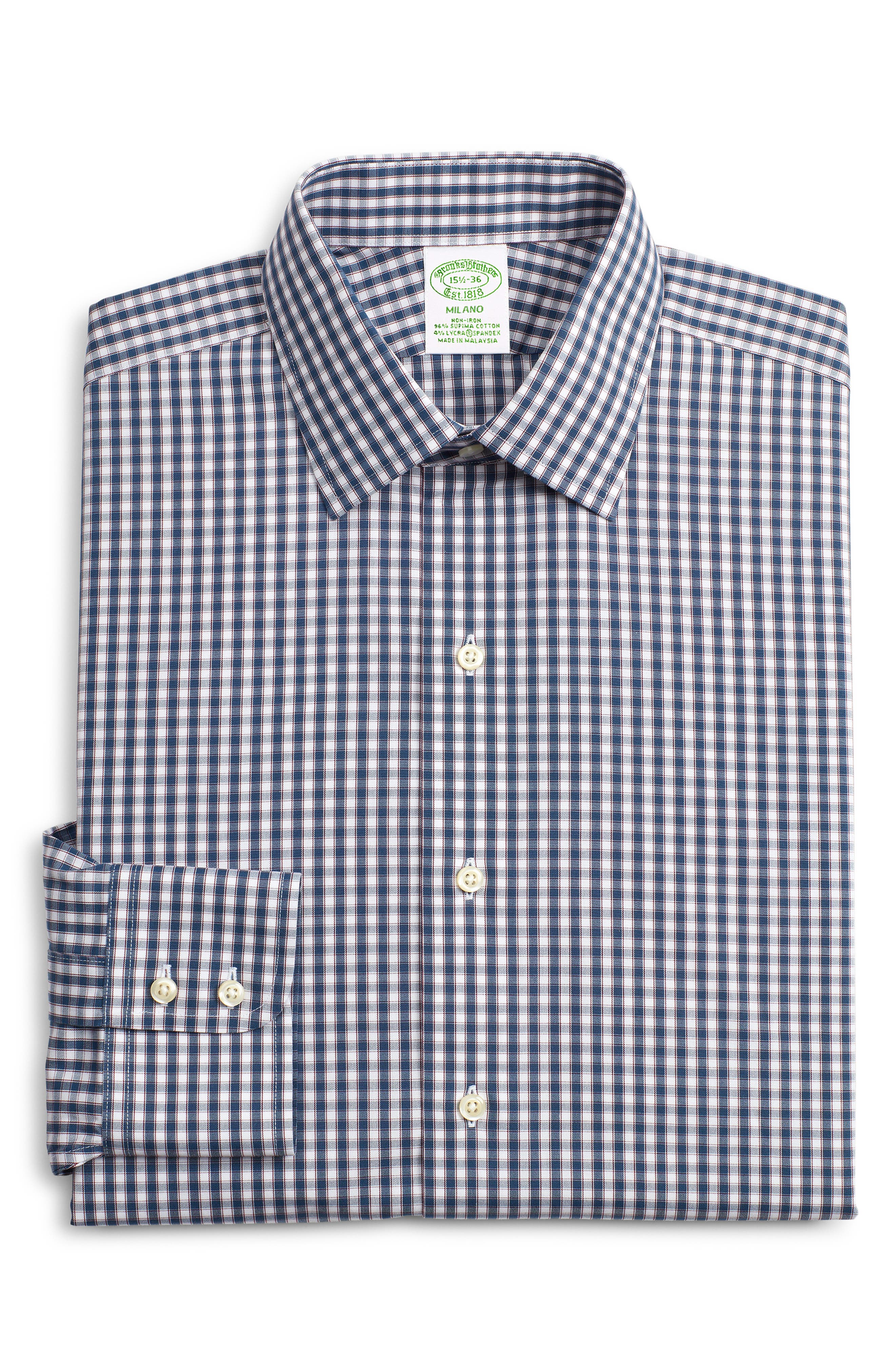 Brooks Brothers Milano Trim Fit Stretch Plaid Dress Shirt