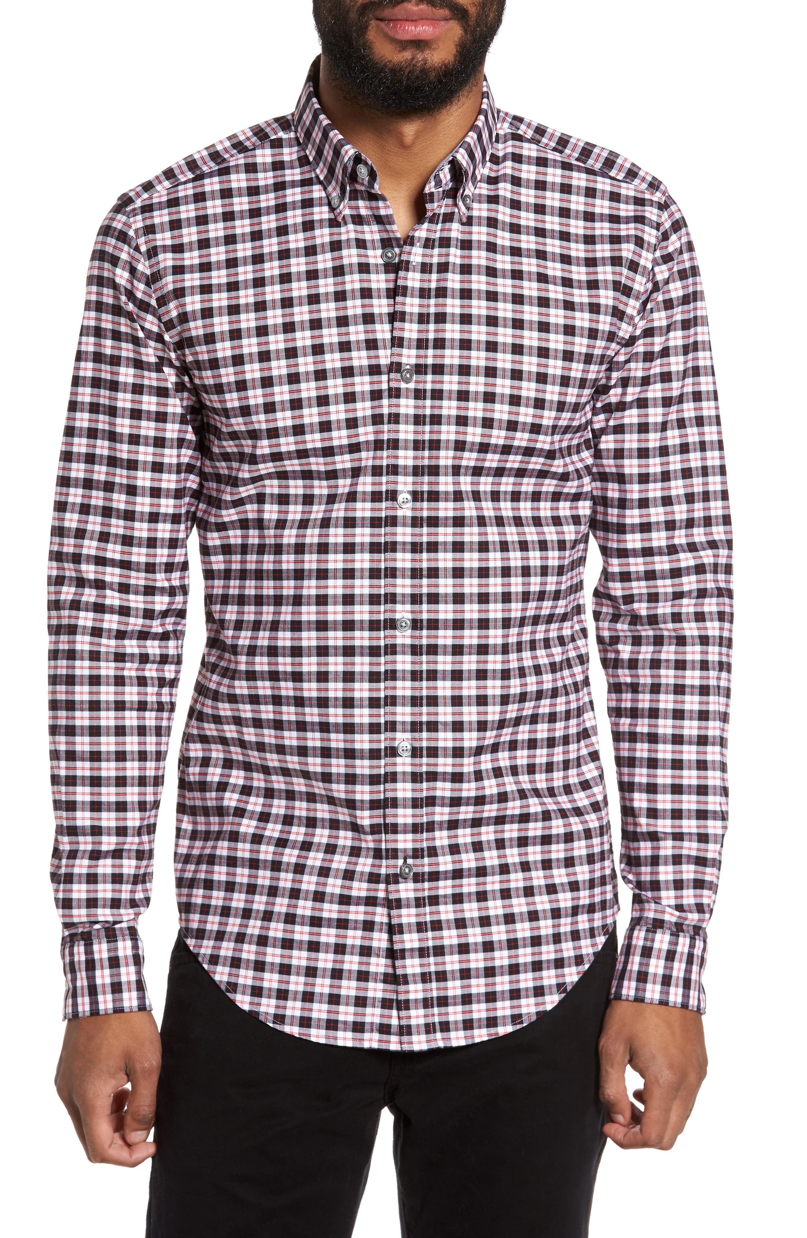 Rod Trim Fit Check Oxford Sport Shirt,                             Main thumbnail 1, color,                             001