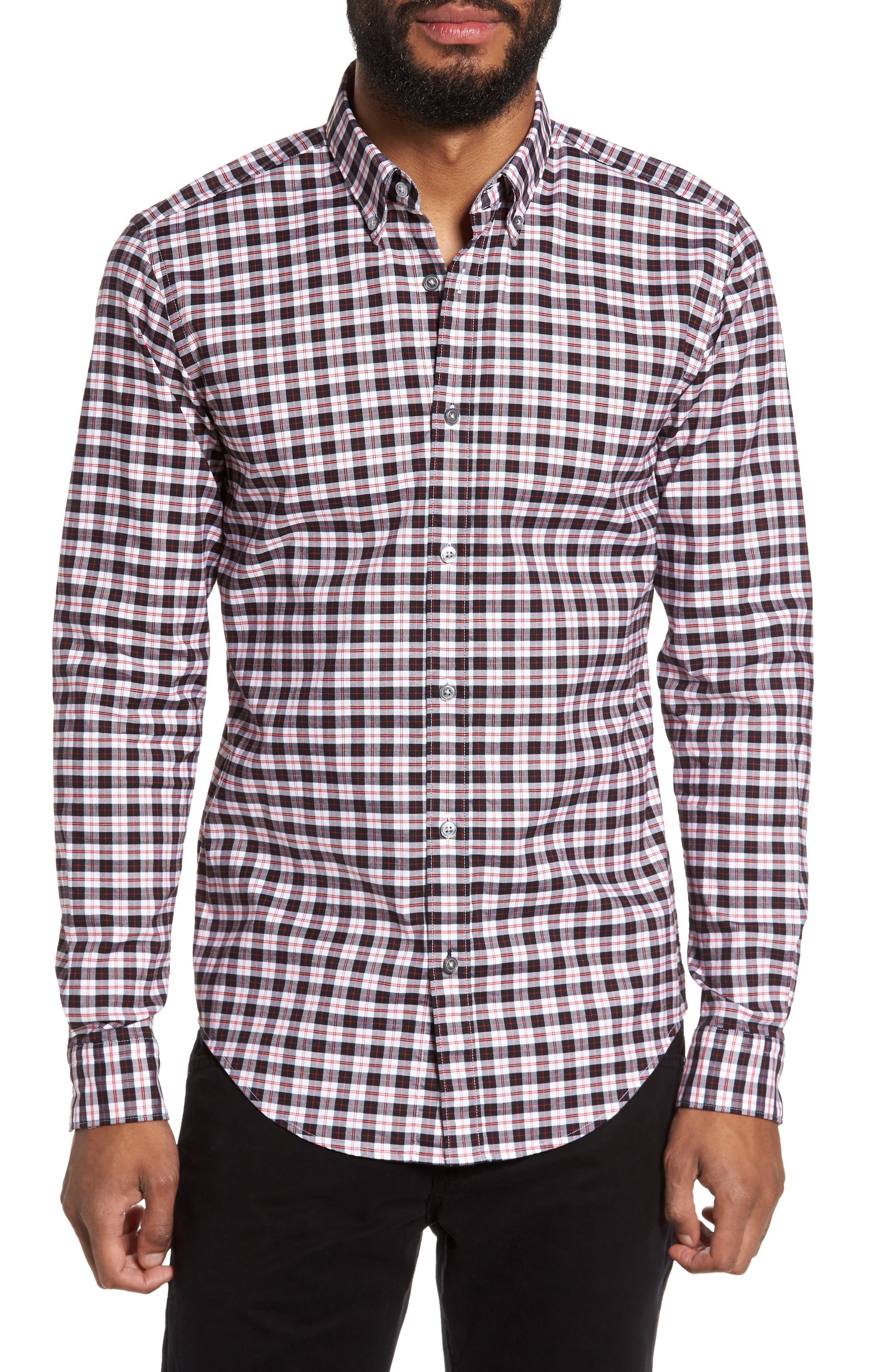 Rod Trim Fit Check Oxford Sport Shirt,                         Main,                         color, 001