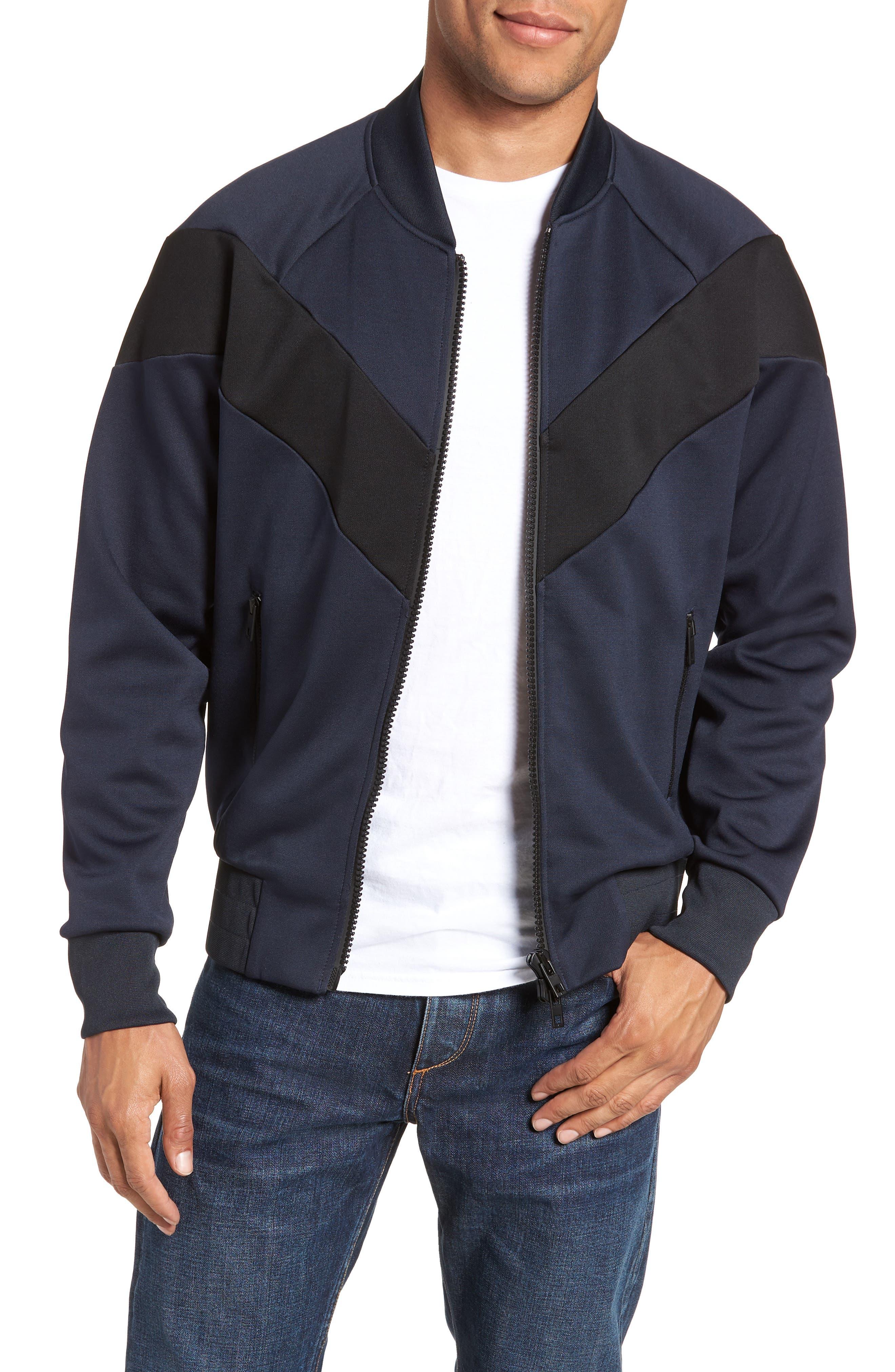 Colorblock Slim Fit Bomber Jacket,                         Main,                         color, NAVY/ BLACK