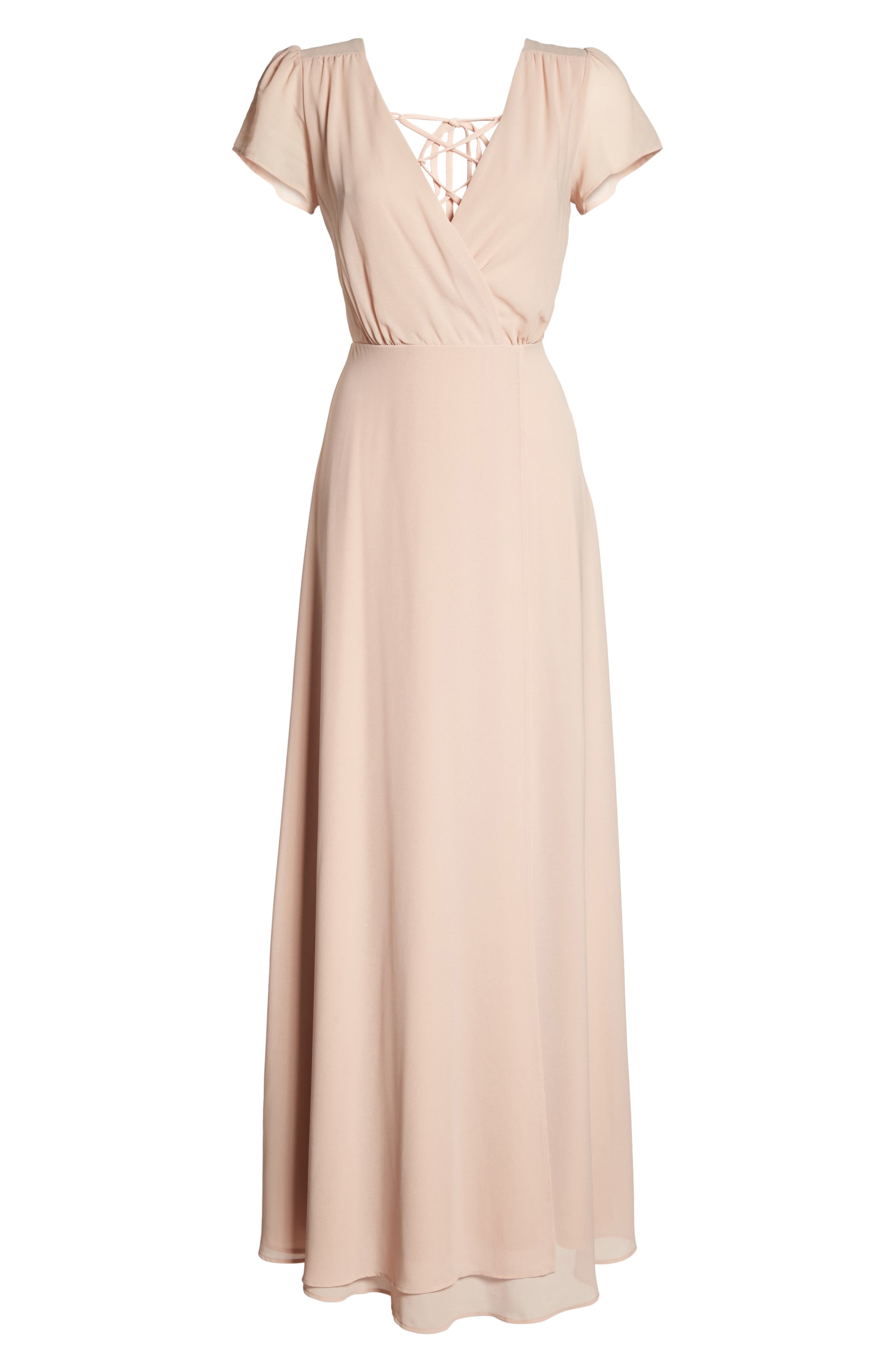 Lace-Up Back Chiffon Gown,                             Alternate thumbnail 13, color,