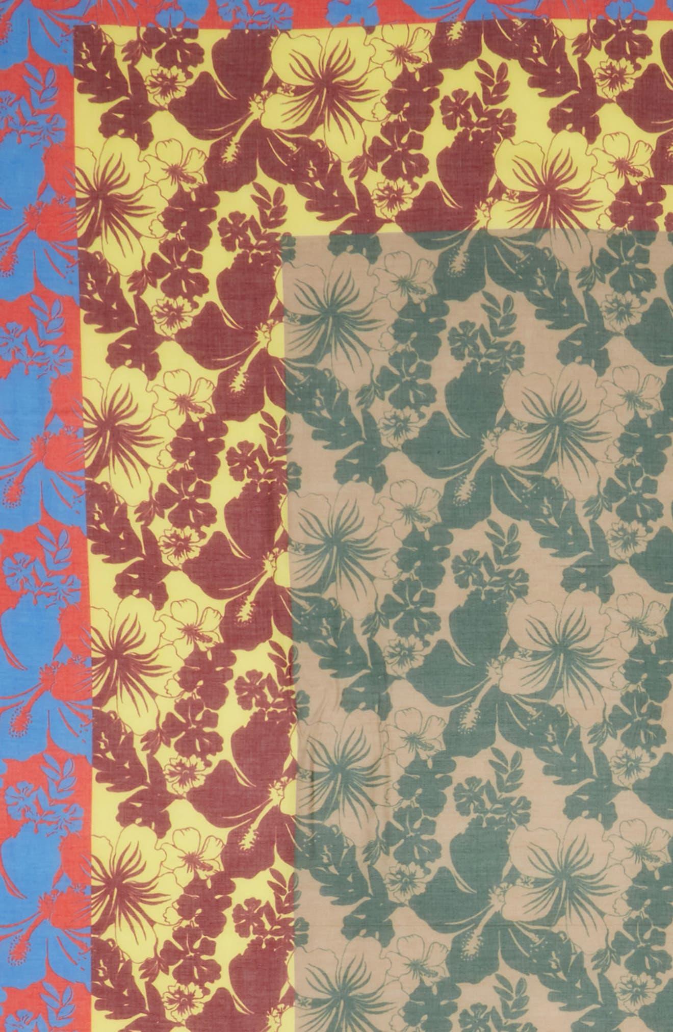 Tropical Floral Print Silk & Modal Scarf,                             Alternate thumbnail 4, color,                             600