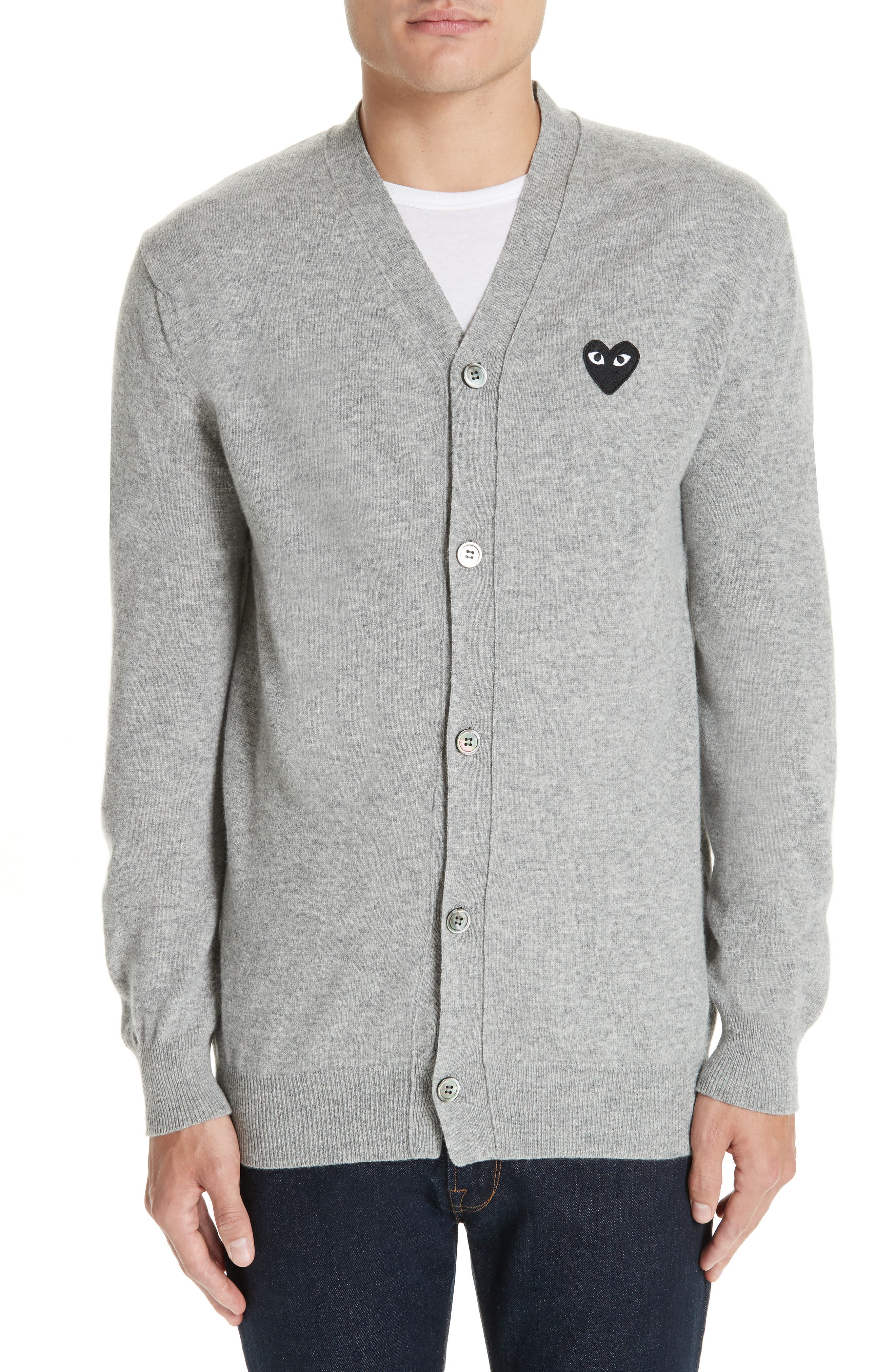 Comme Des Garcons Play Black Heart Wool Cardigan, Grey