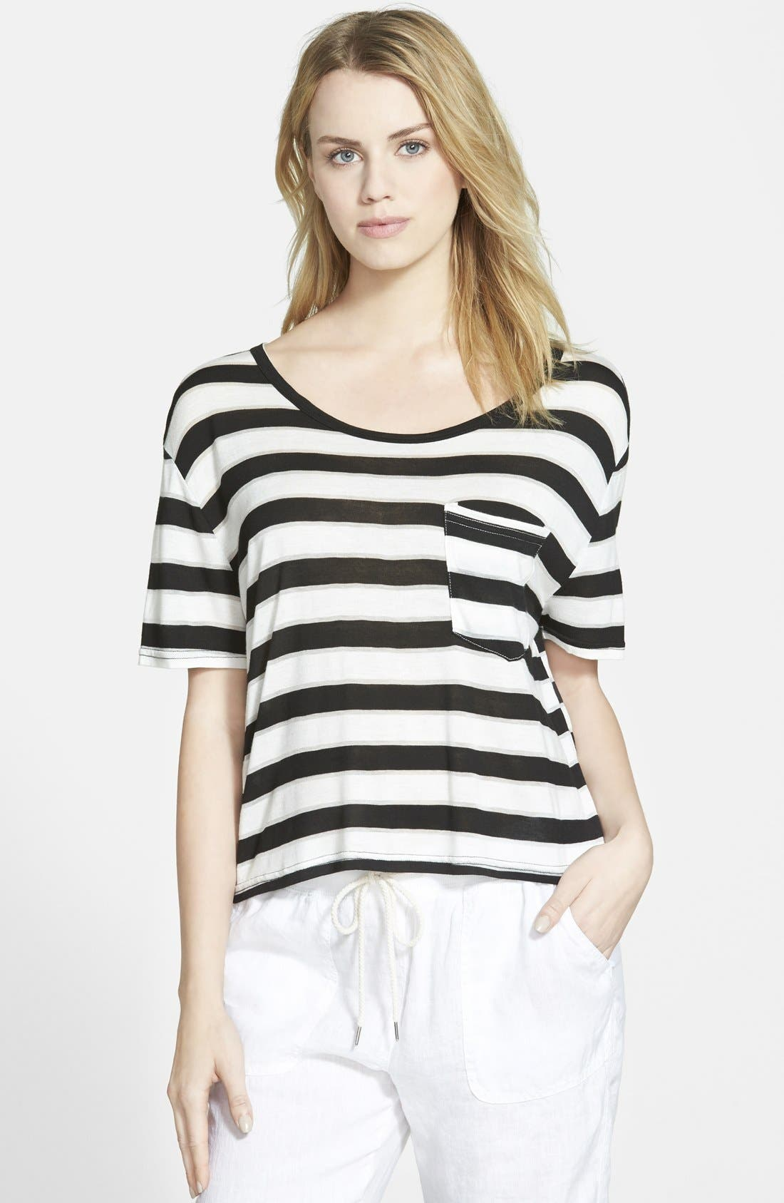Stripe Short Sleeve Tee,                         Main,                         color, 001