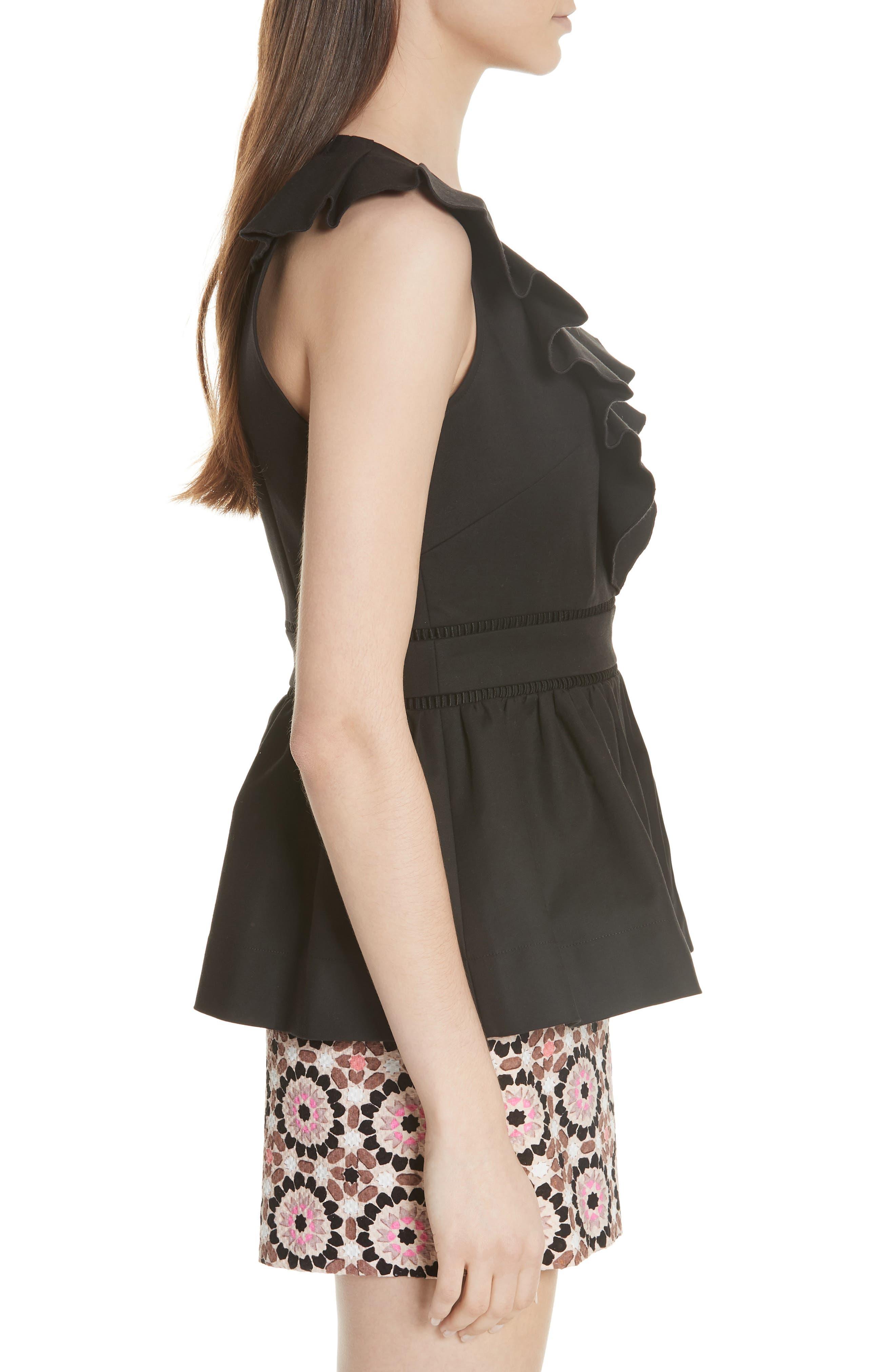 ruffle neck stretch cotton peplum blouse,                             Alternate thumbnail 5, color,