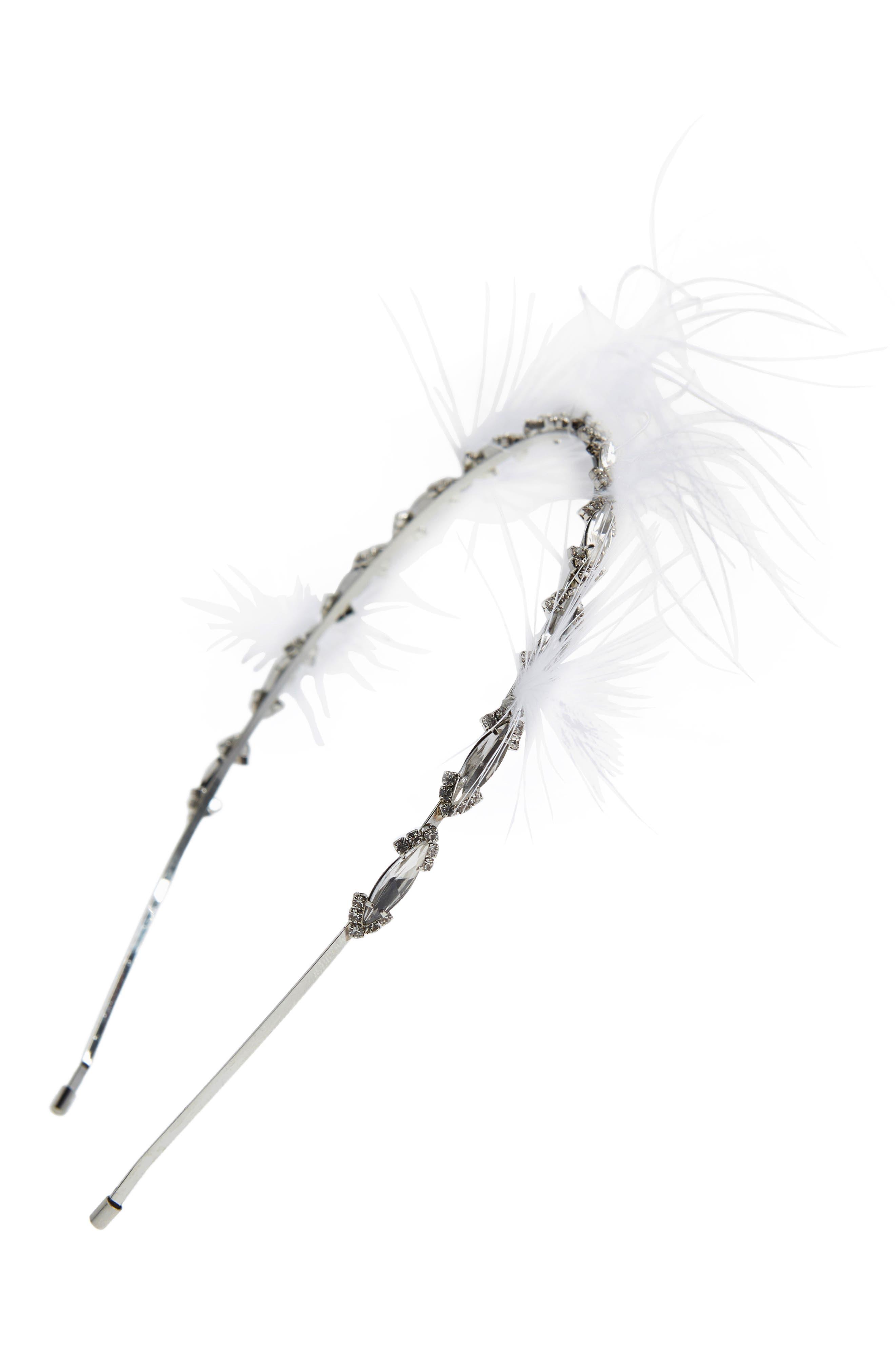 Feather & Crystal Headband,                         Main,                         color, 100