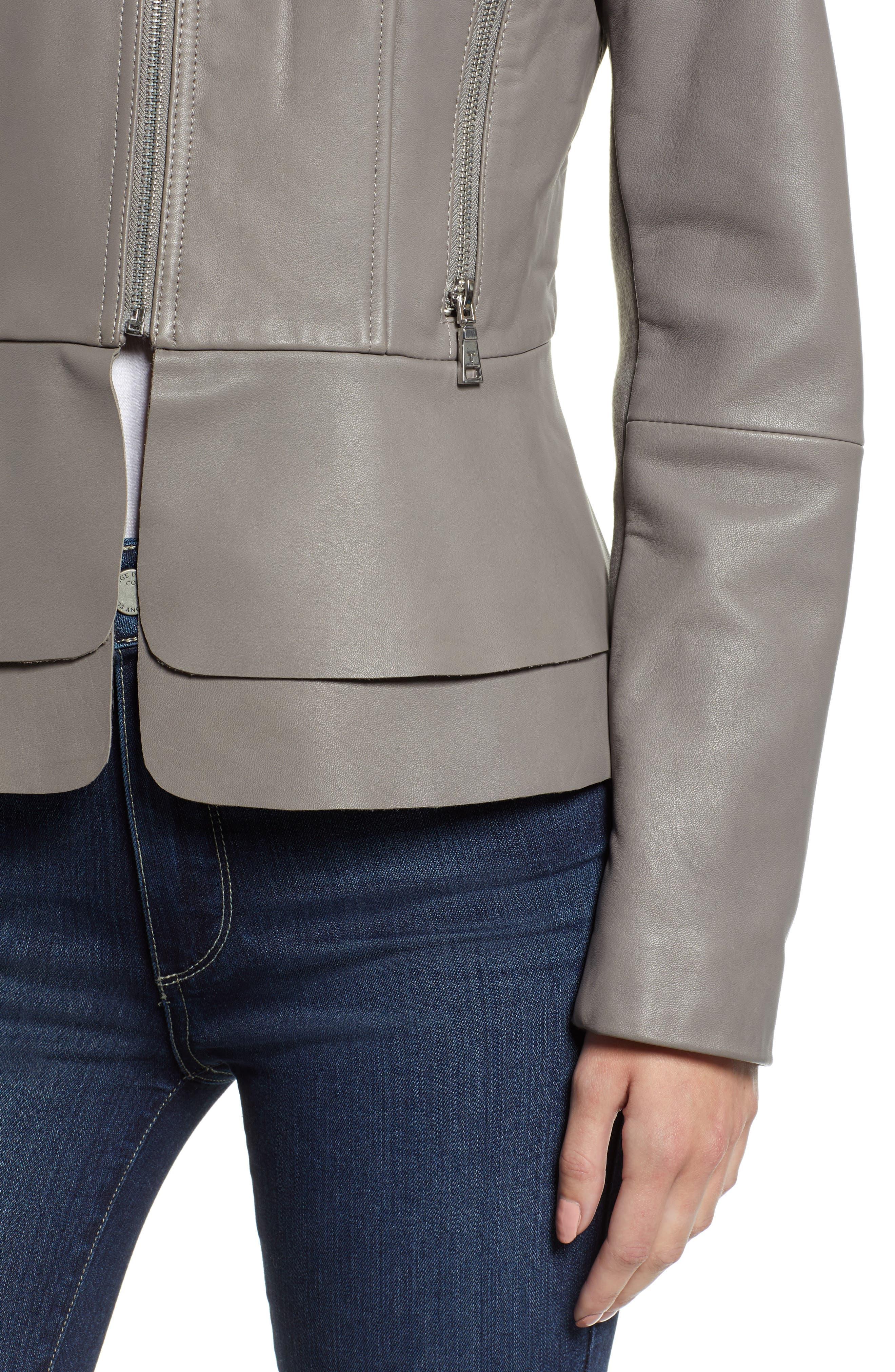 Thea Peplum Hem Leather Jacket,                             Alternate thumbnail 4, color,                             020