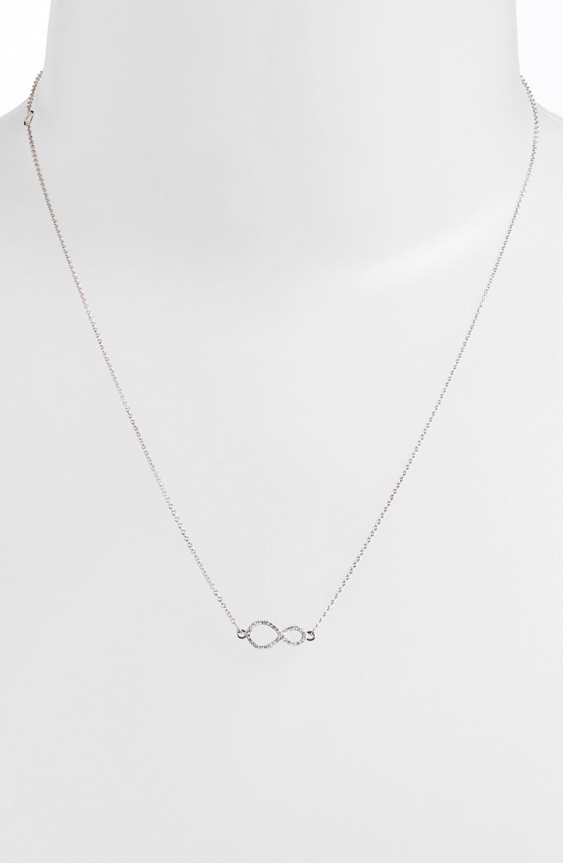Pavé Diamond Sideways Infinity Symbol Pendant Necklace,                             Alternate thumbnail 2, color,                             710